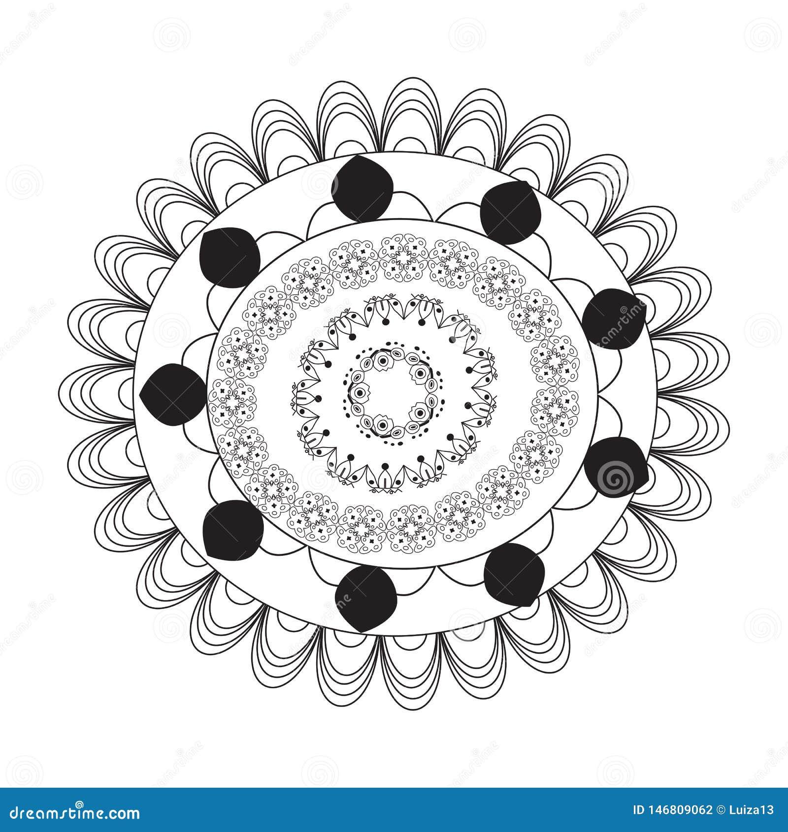 Mandala de la flor Elementos decorativos de la vendimia Modelo oriental, ejemplo del vector P?gina del colorante de la mandala ci