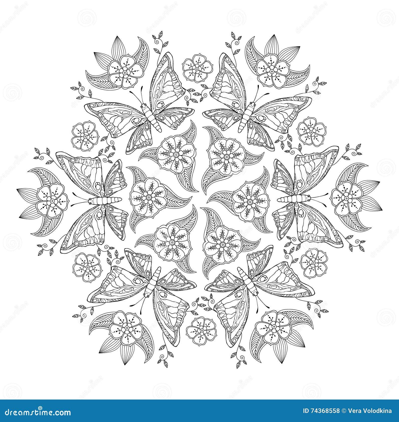 Mandala De Mendie Con Las Mariposas Y Las Flores Para El Libro De ...