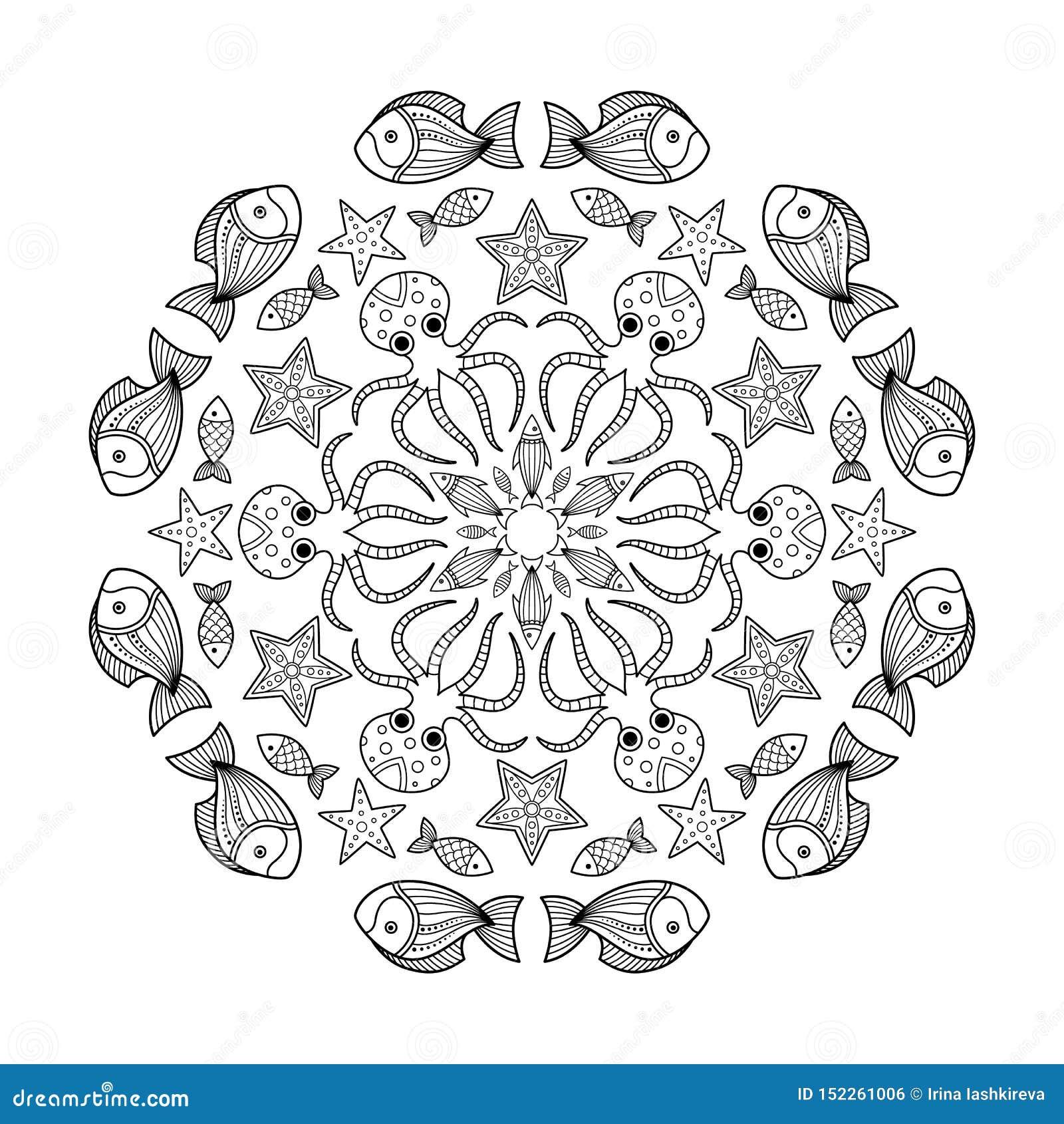 Mandala De Page De Livre De Coloriage De Griffonnage De Mer