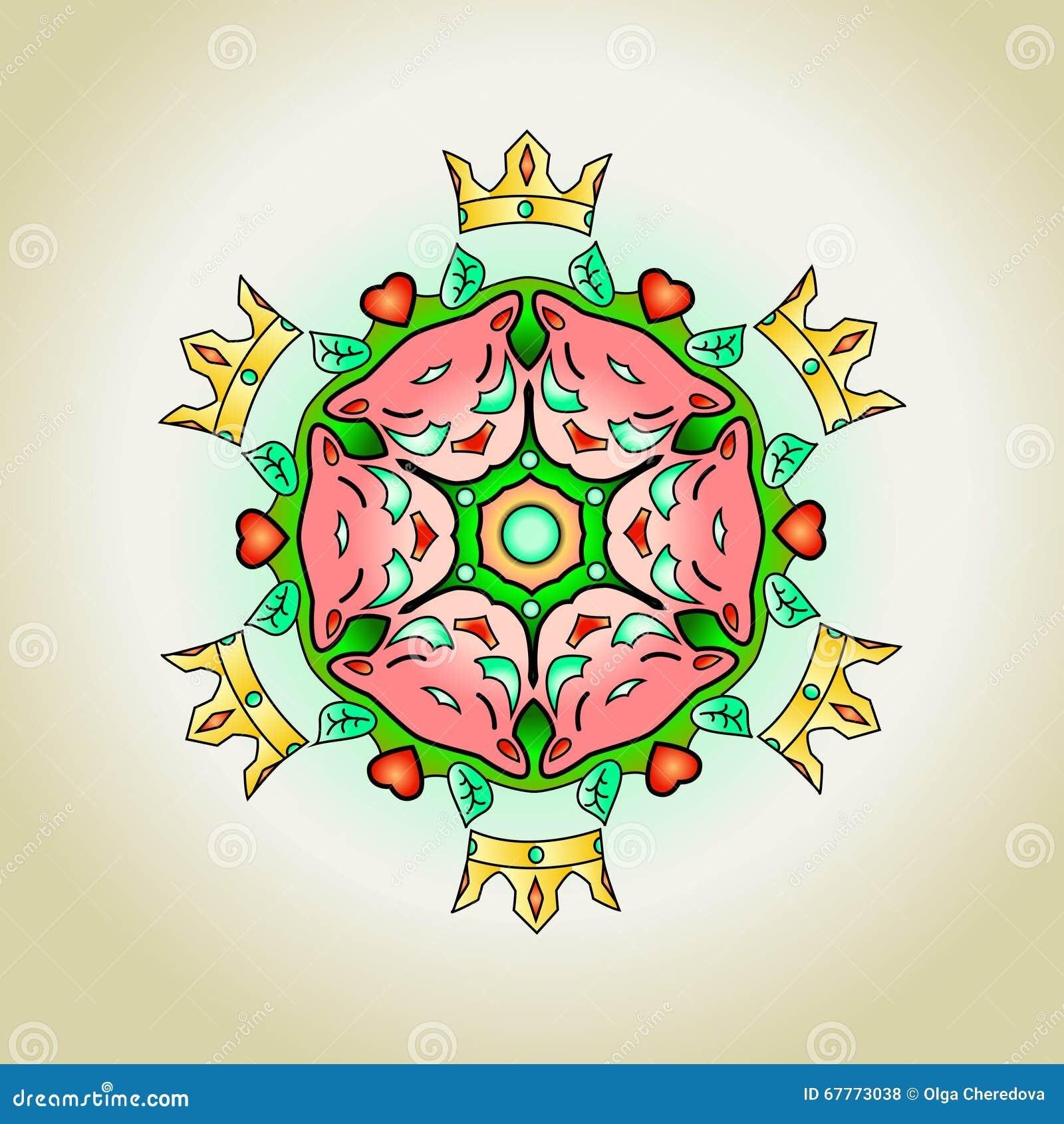 Mandala De Tatouage Avec Des Chats Et Des Coeurs De Couronnes