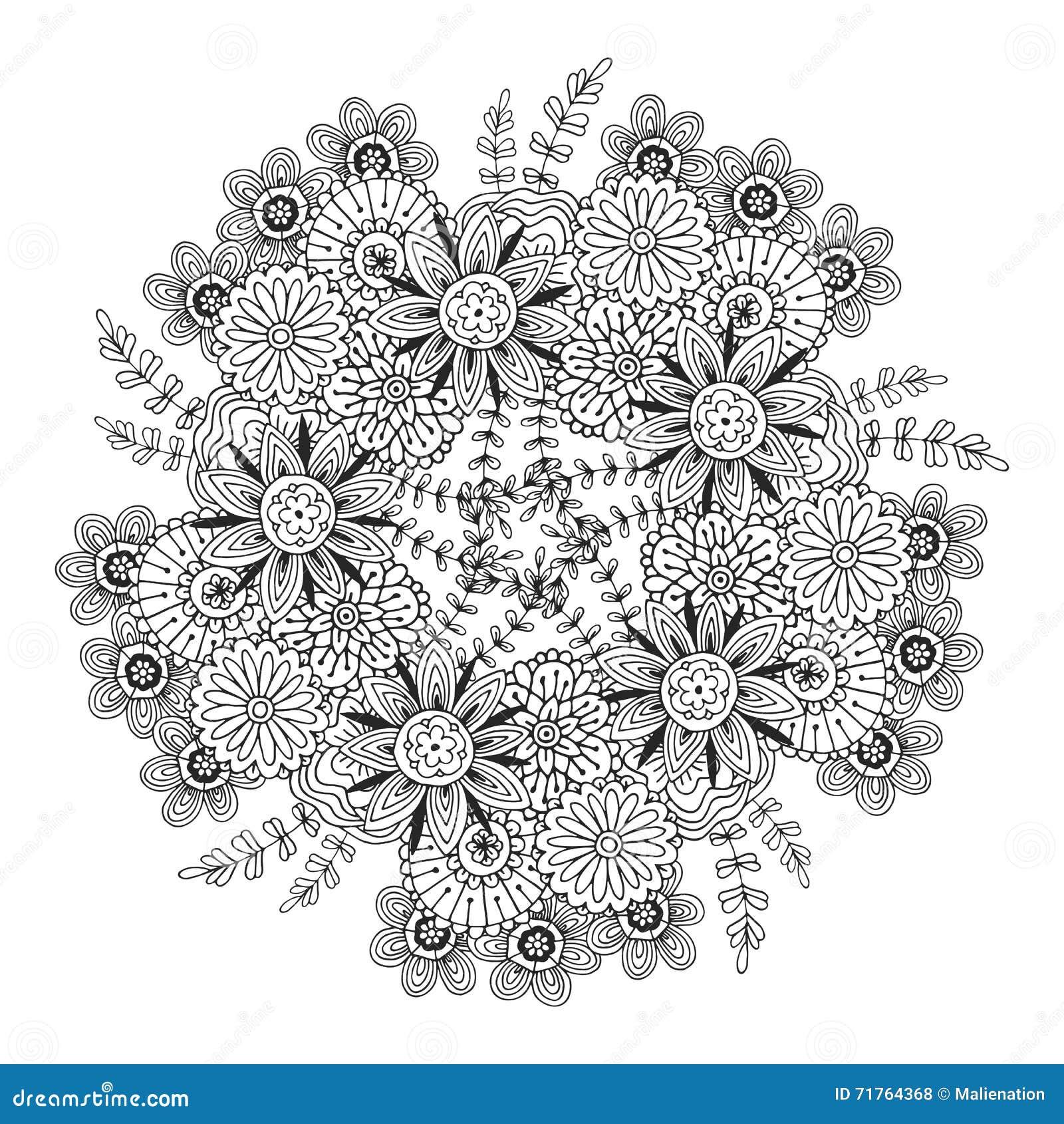 Mandala de vecteur avec le mod le de fleurs page adulte de - Modele de mandala ...