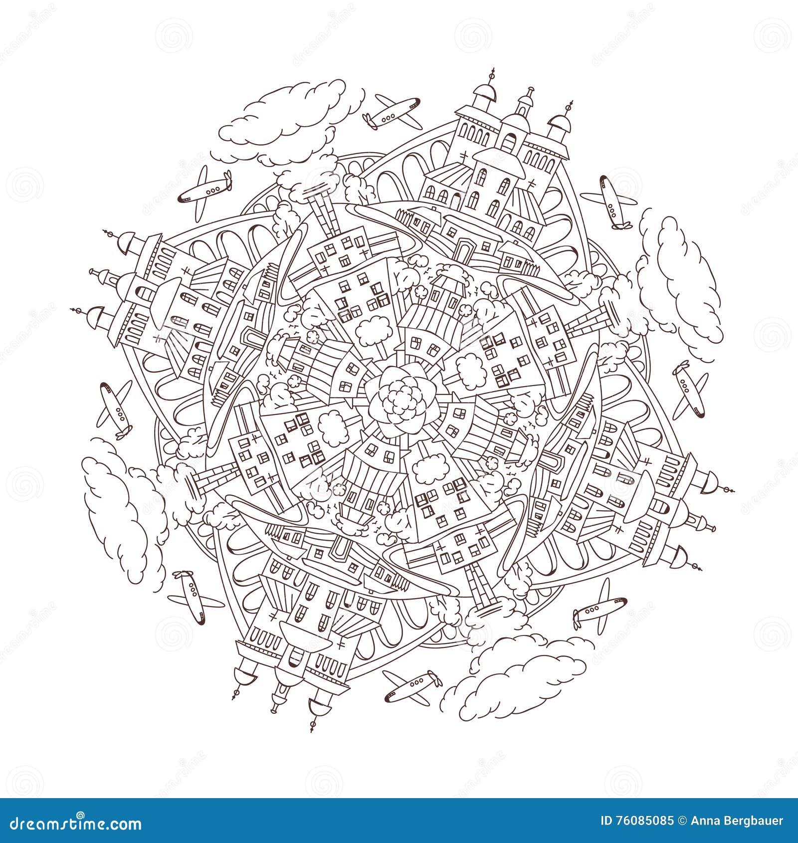 Mandala de ville de vecteur