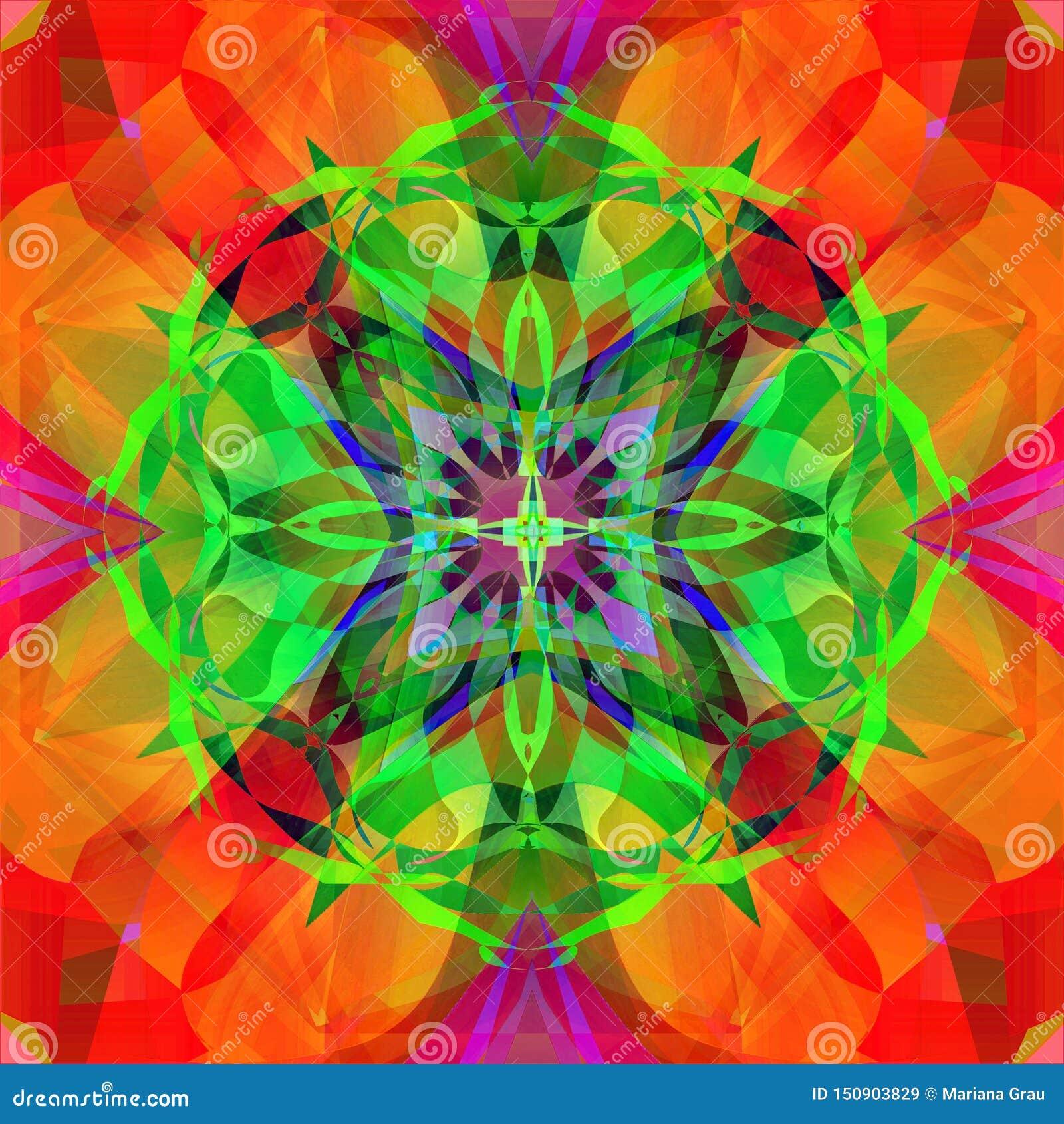 Mandala dekorativ design CENTRAL BILD I GRÖNT, BLÅTT, RÖTT OCH PURPURFÄRGAT G?ra sammandrag orange och r?d bakgrund