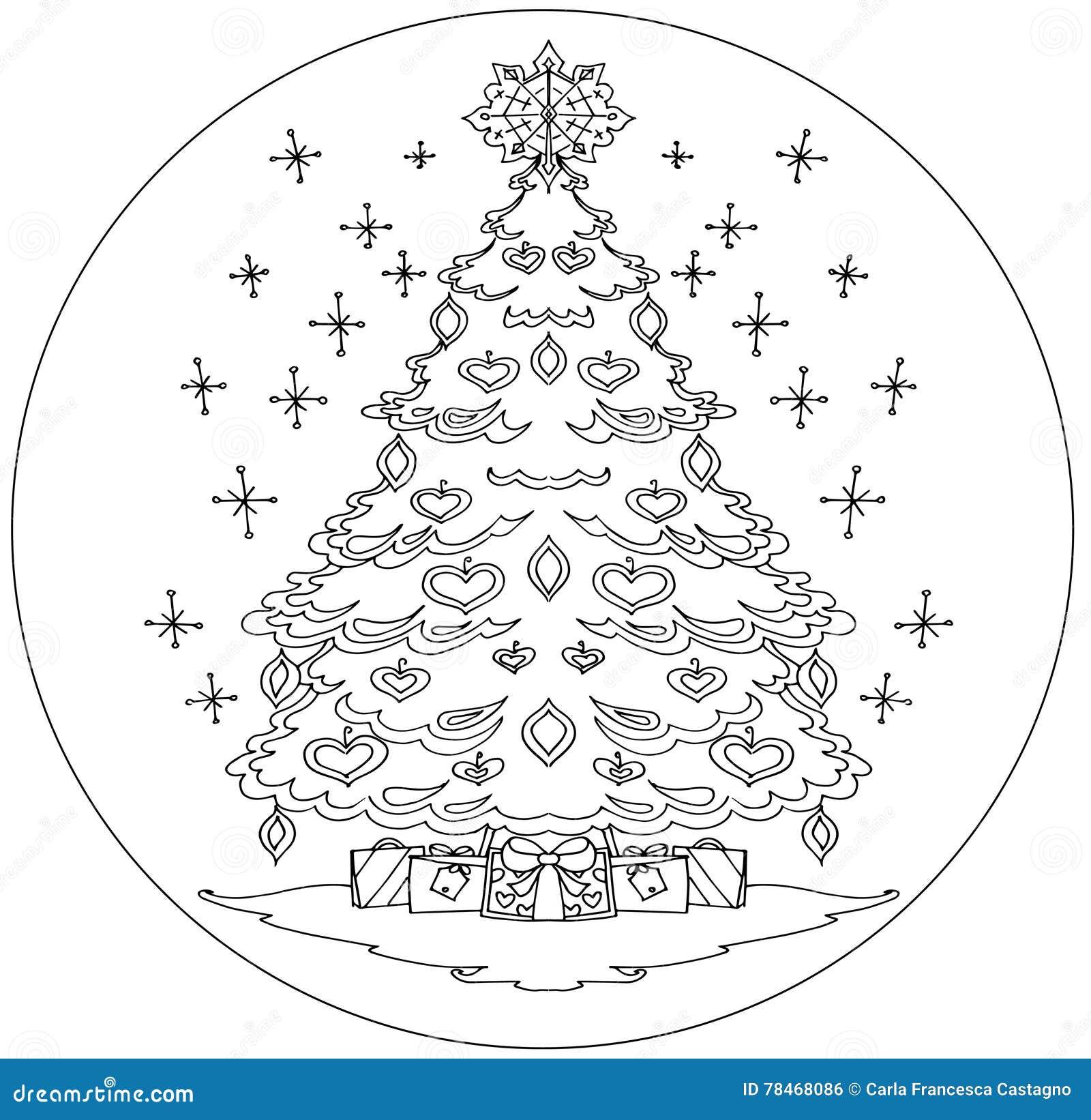 Mandala Del Colorante Del árbol De Navidad Foto de archivo - Imagen ...