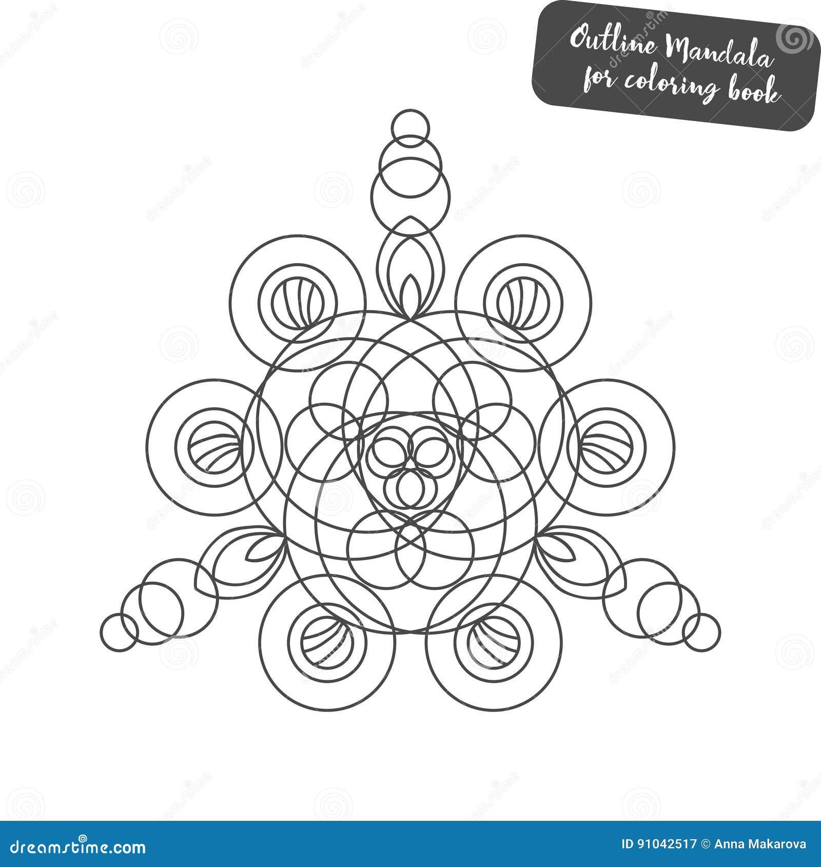 Mandala Del Esquema Para El Libro De Colorear Ornamento Redondo ...