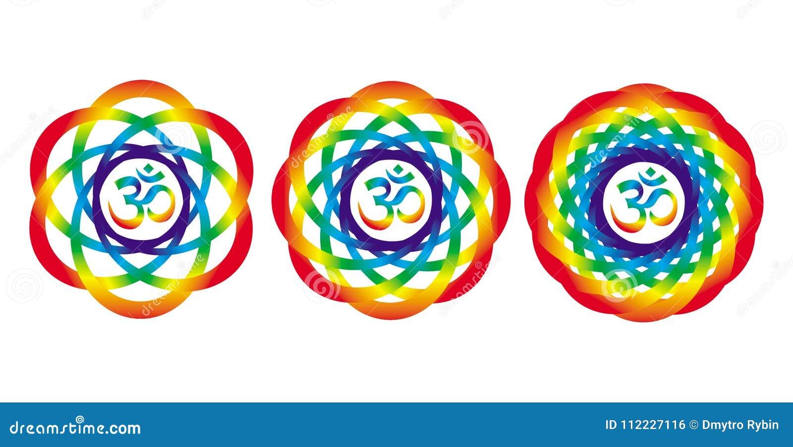 Mandala dell arcobaleno con un segno di Aum OM Oggetto artistico astratto
