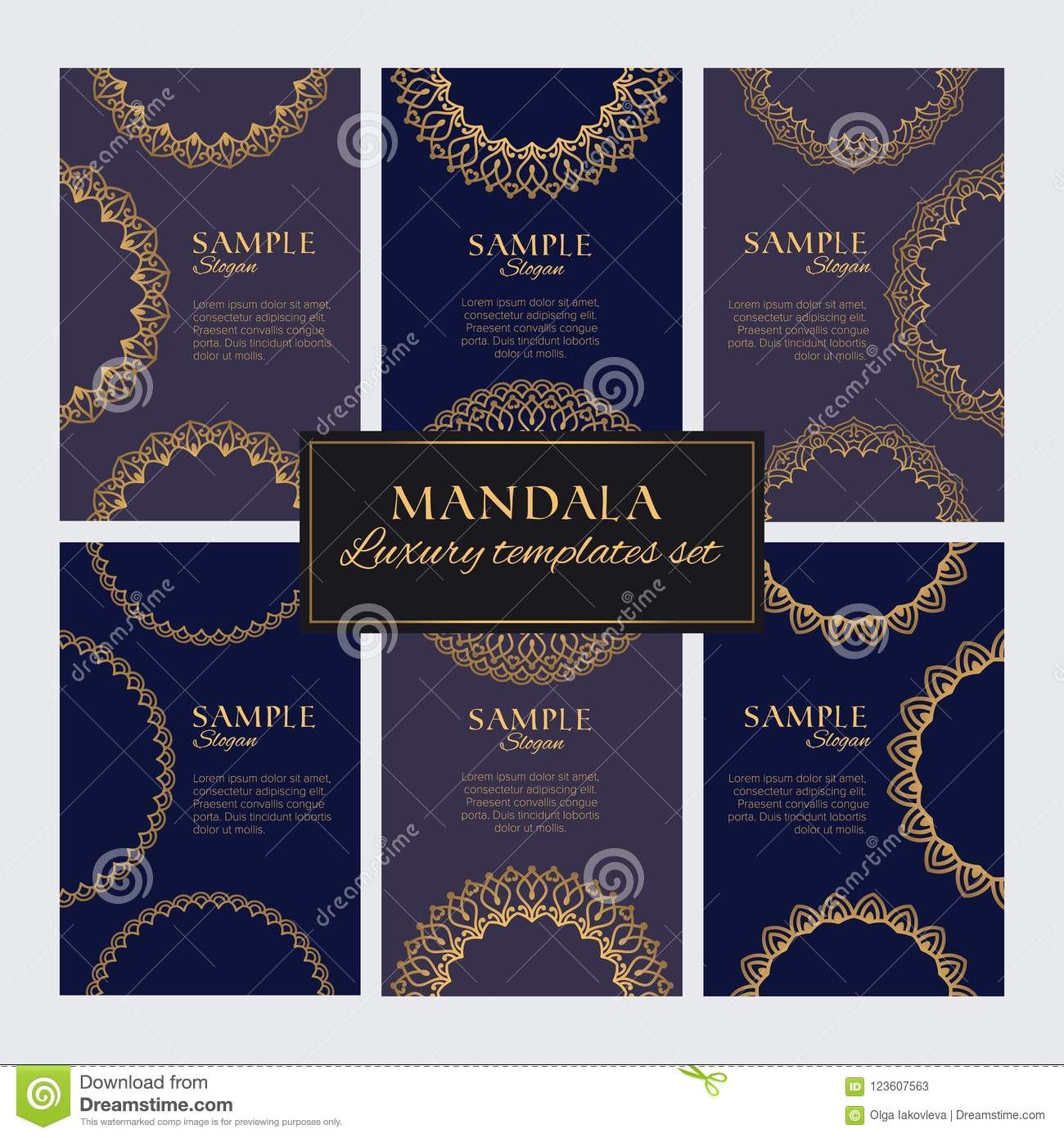 Set of luxury golden oriental ornaments, patterns and elements on dark blue backgrounds