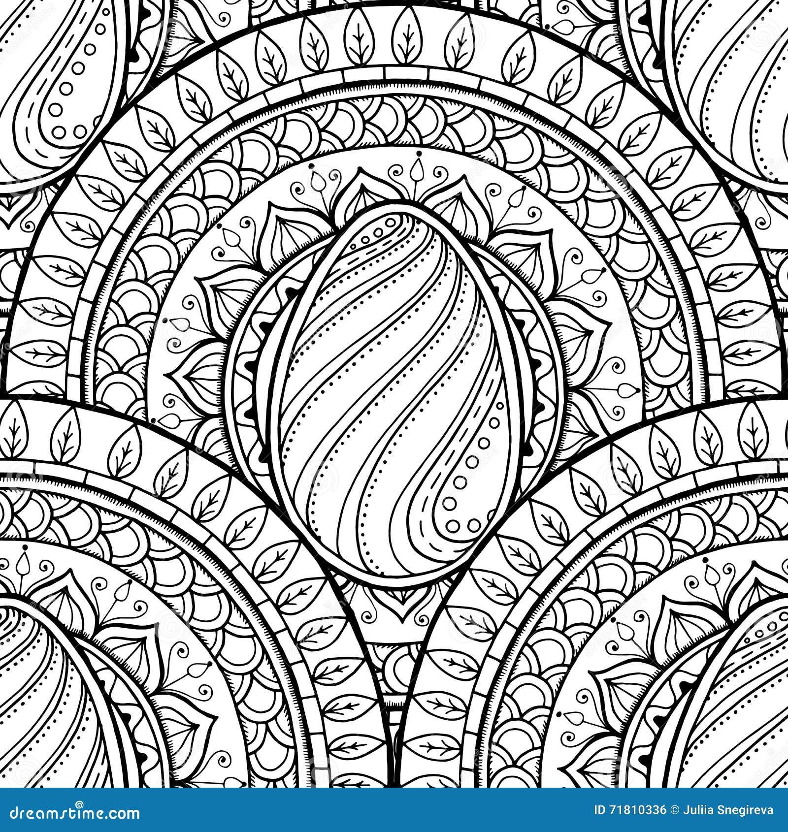 Mandala di tema di pasqua con l 39 uovo di scarabocchio - Modello di uovo stampabile gratuito ...