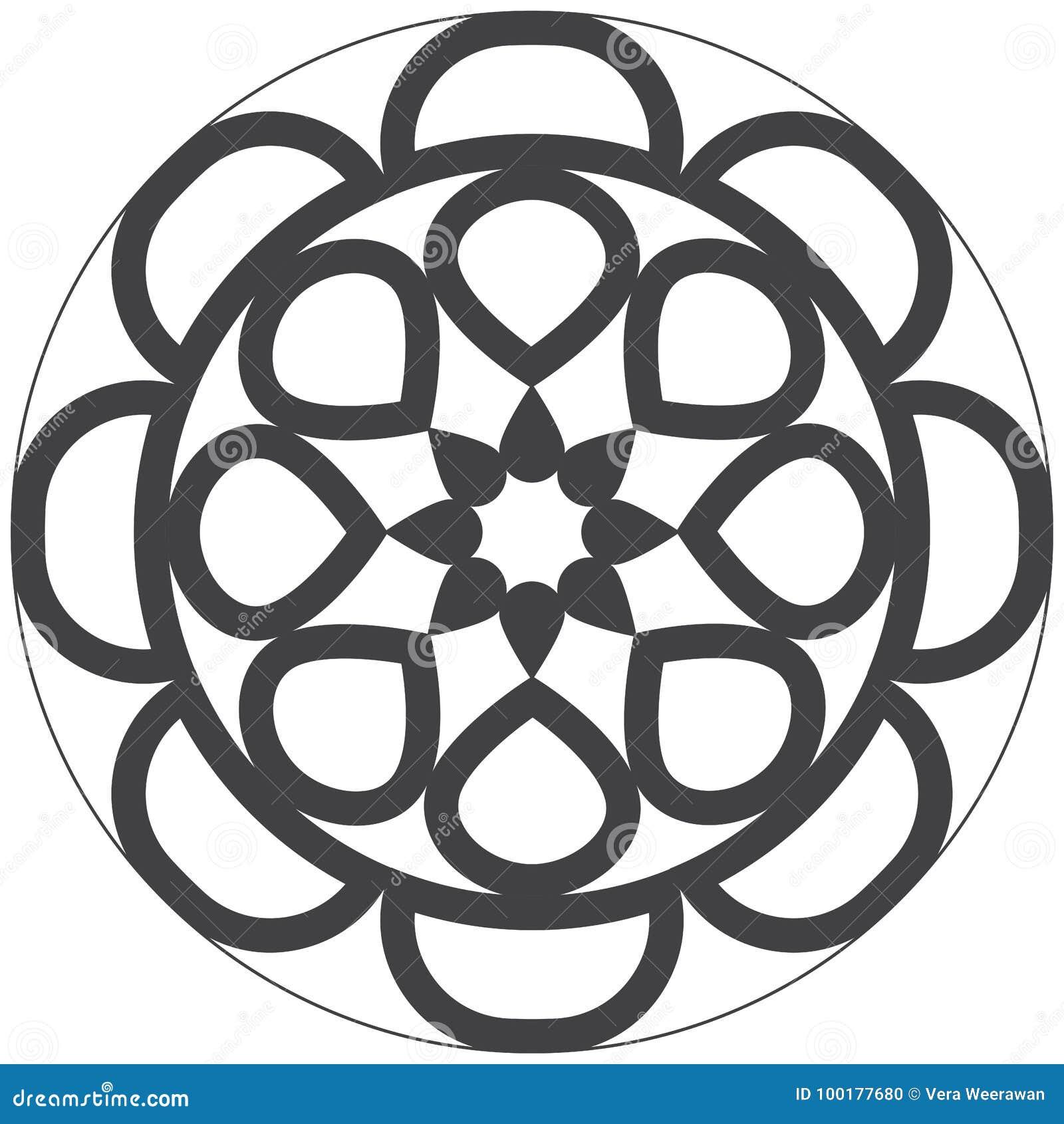 Mandala do projeto fácil e simples para crianças e a coloração adulta