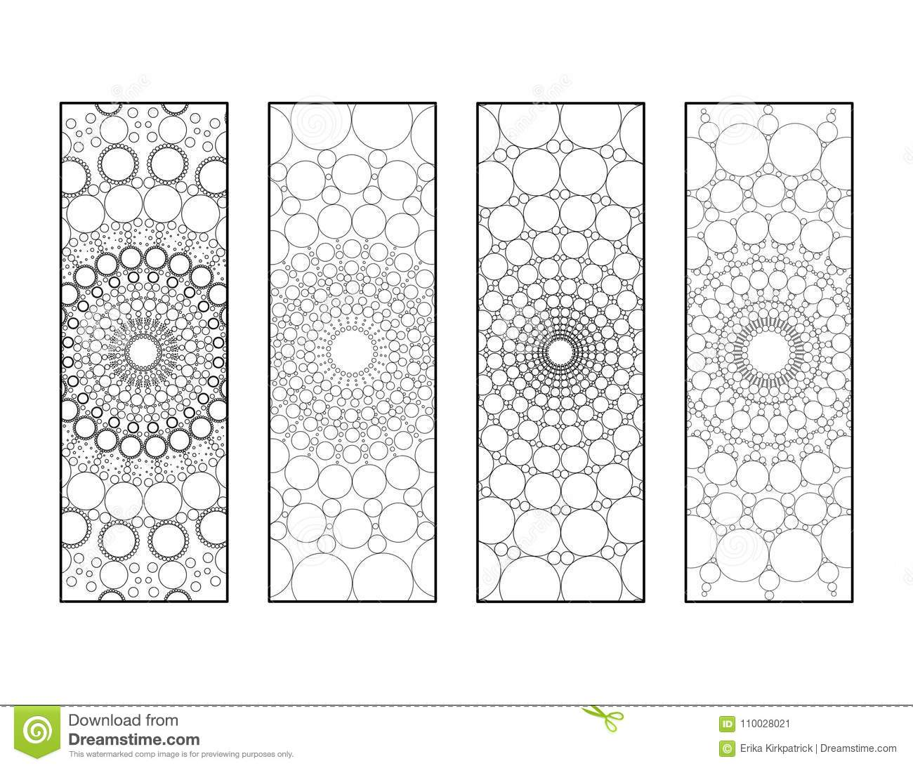 Mandala Dots Bookmarks Coloring Page