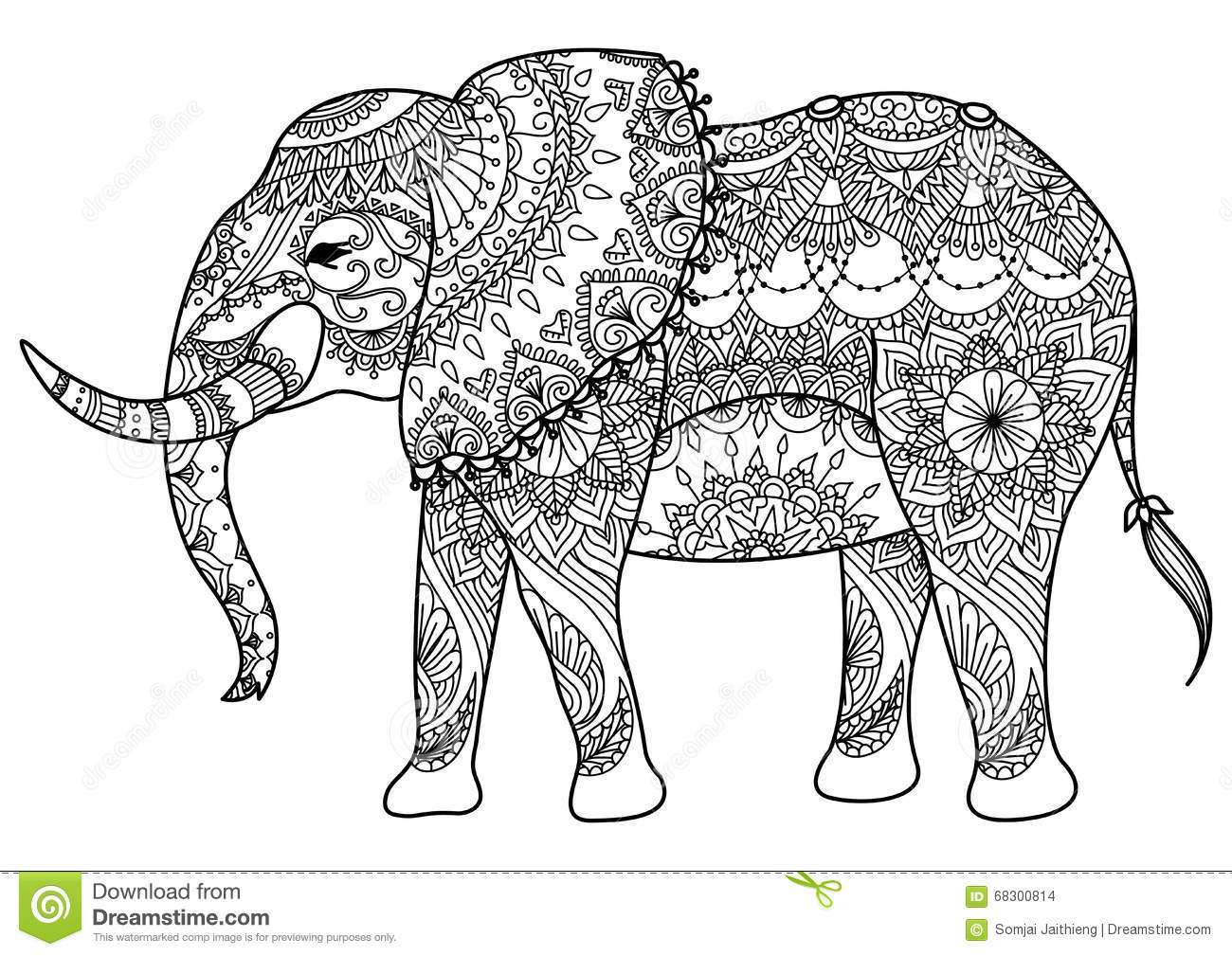 mandala elephant mandada line art design coloring book element design 68300814