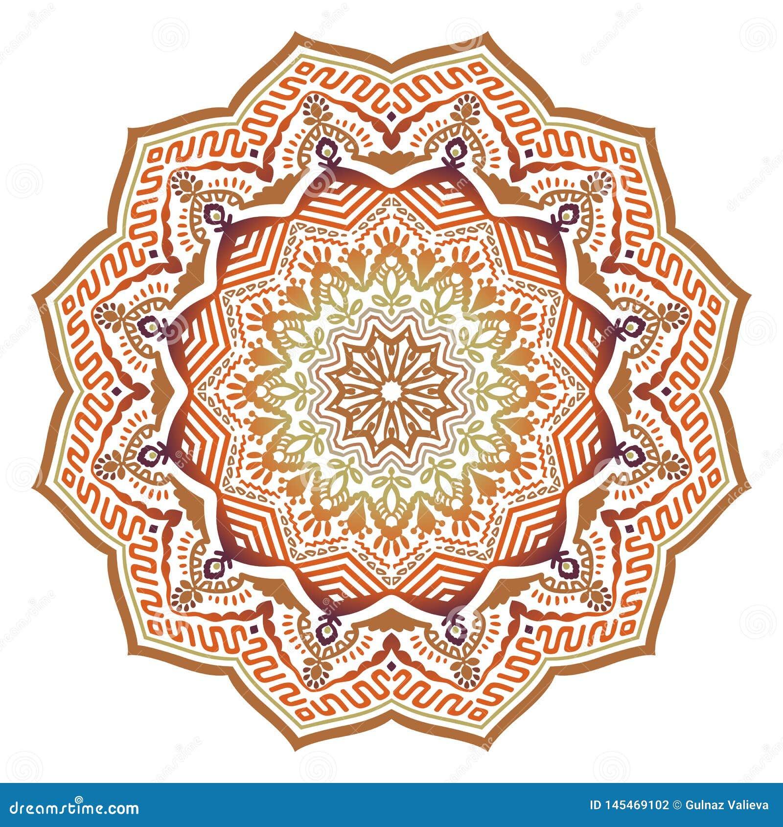 Mandala ensolarada étnica do sumário do vetor com cores alaranjadas