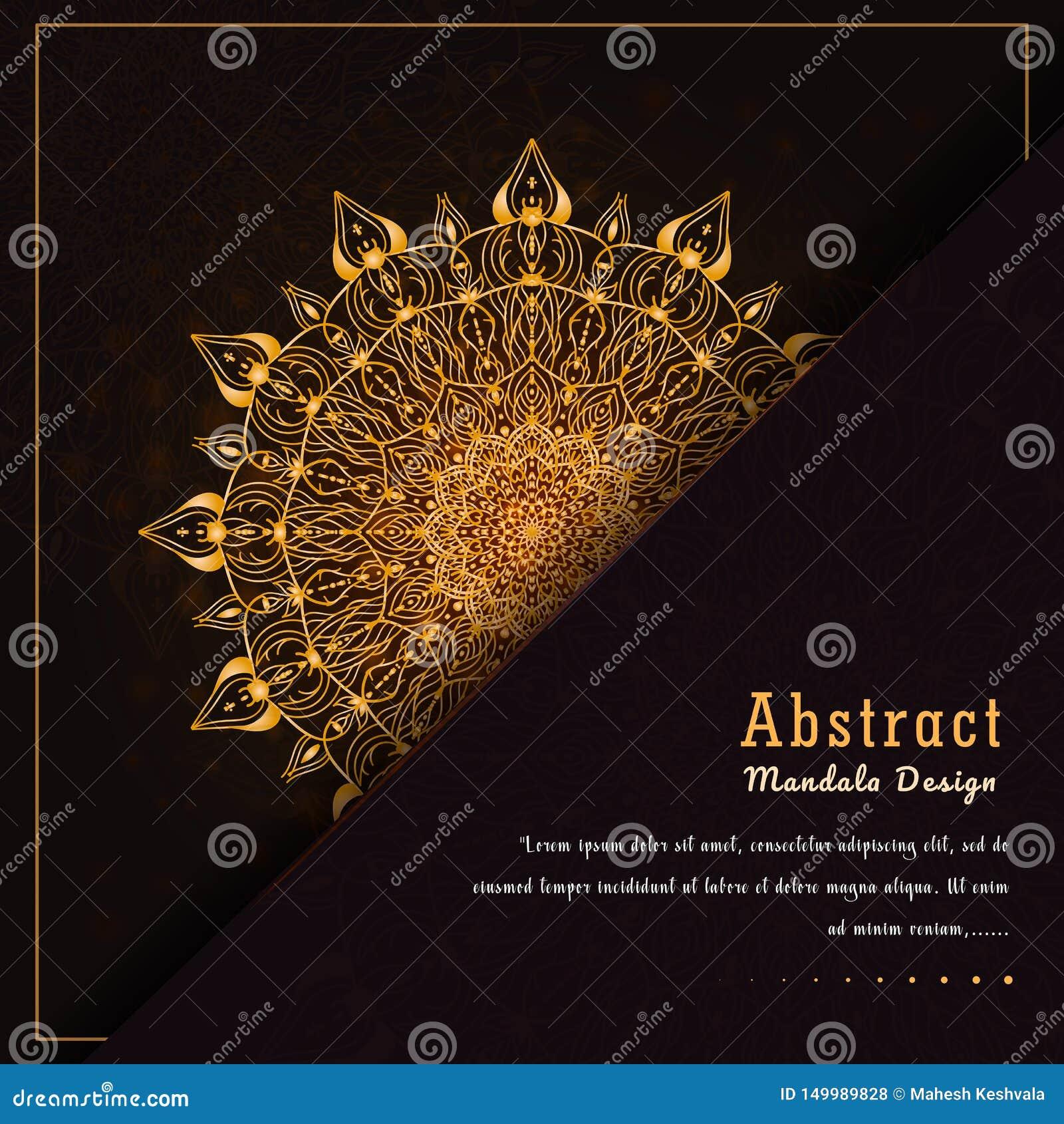 Mandala-Entwurfsluxushintergrund des Vektors dekorativer in der Goldfarbe