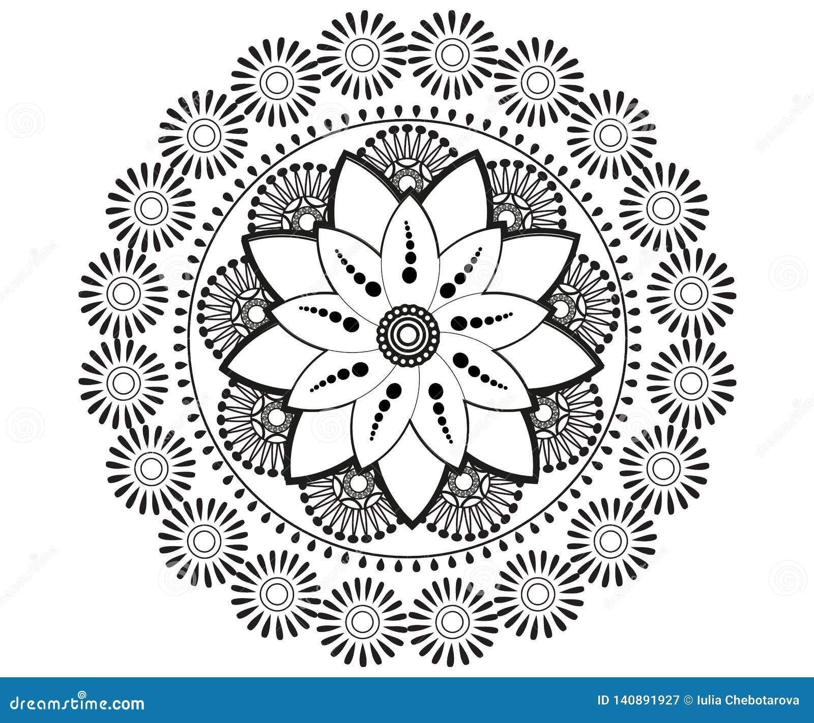 Mandala för henna, Mehndi, tatuering, garnering