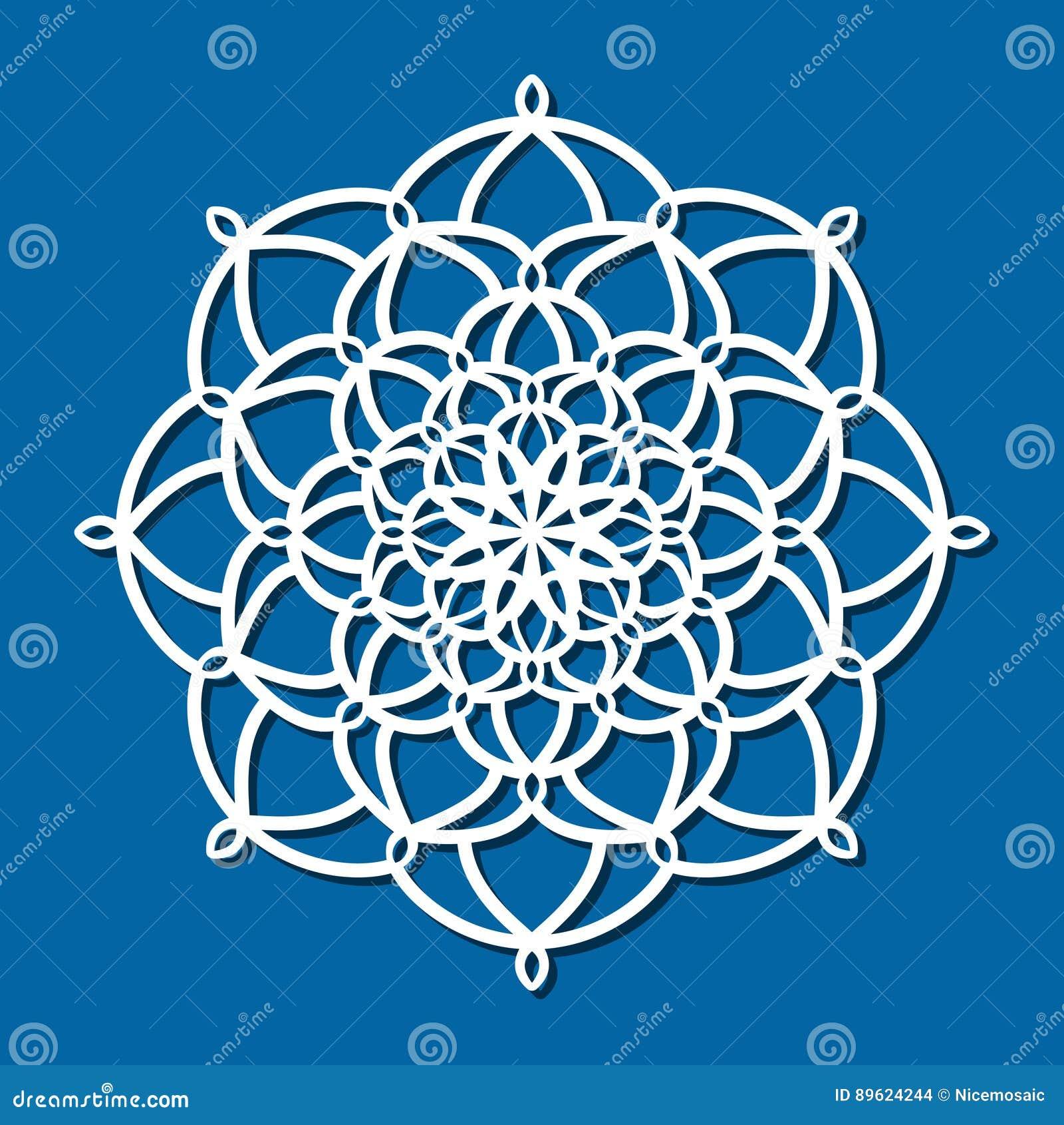 Mandala för prydnad för vektorstencil spets- rund med snidit openwork