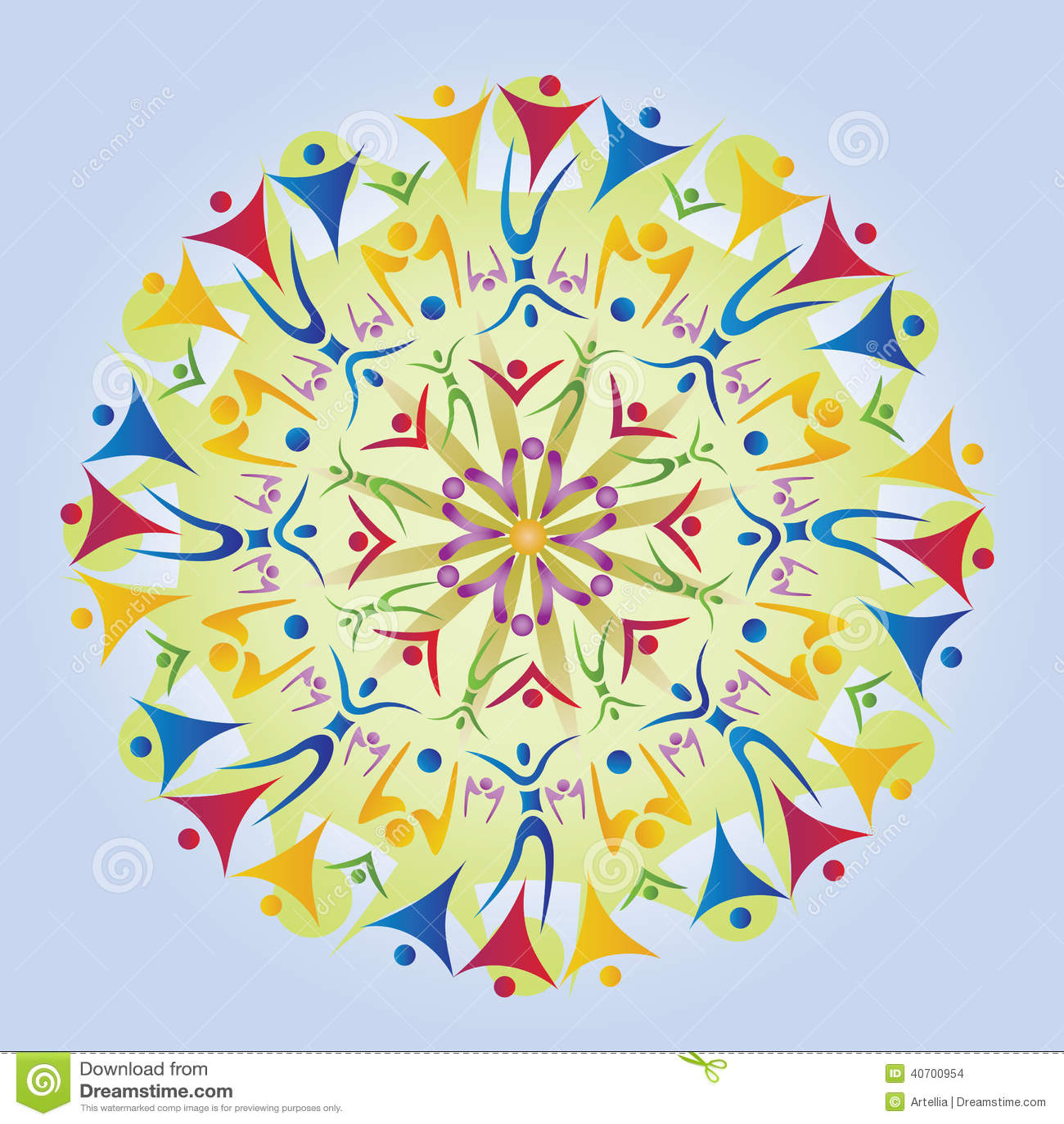 Mandala fatta delle icone/siluette del corpo