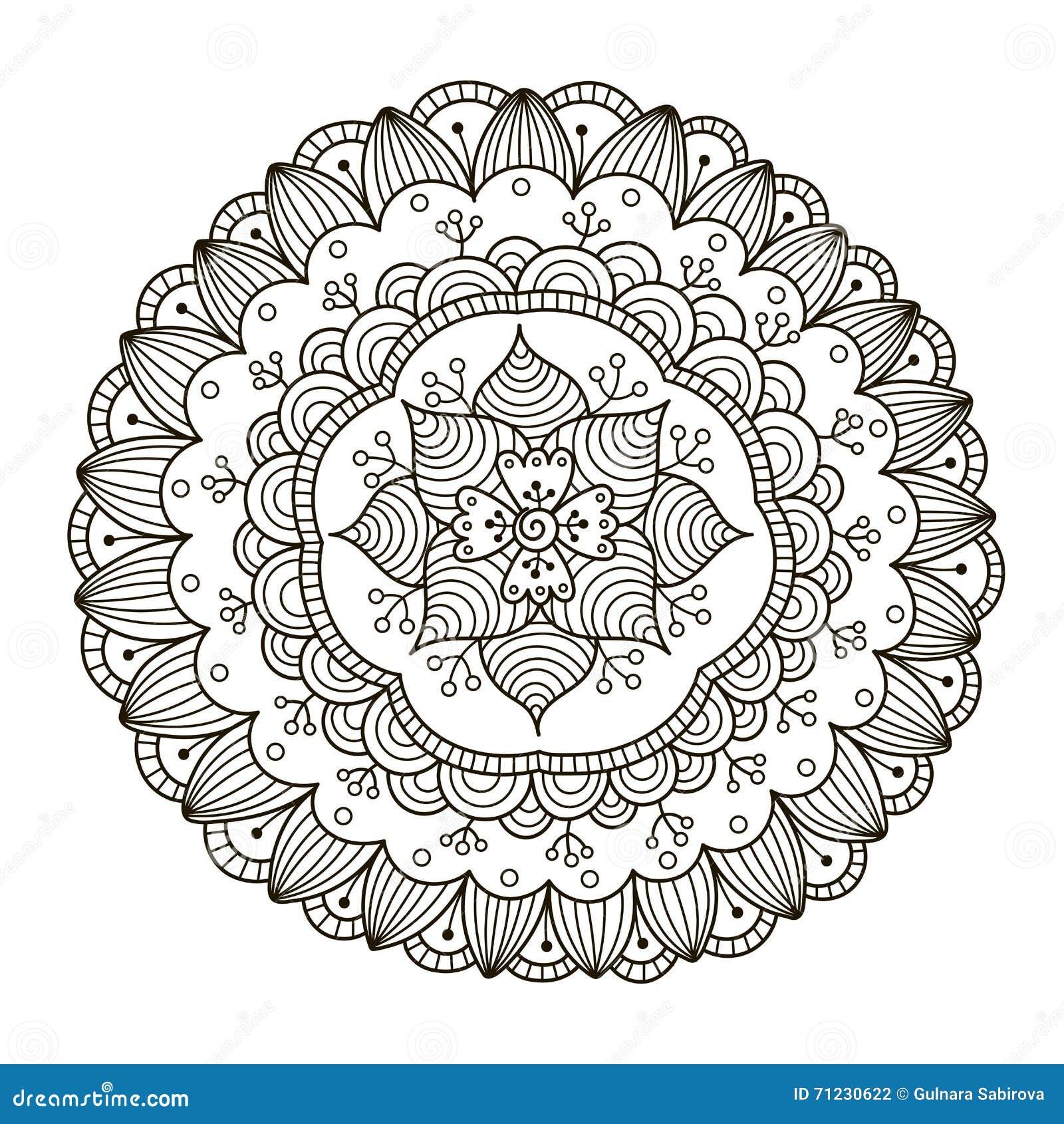 Mandala floral hermosa de Deco Modelo redondo del ornamento del vector