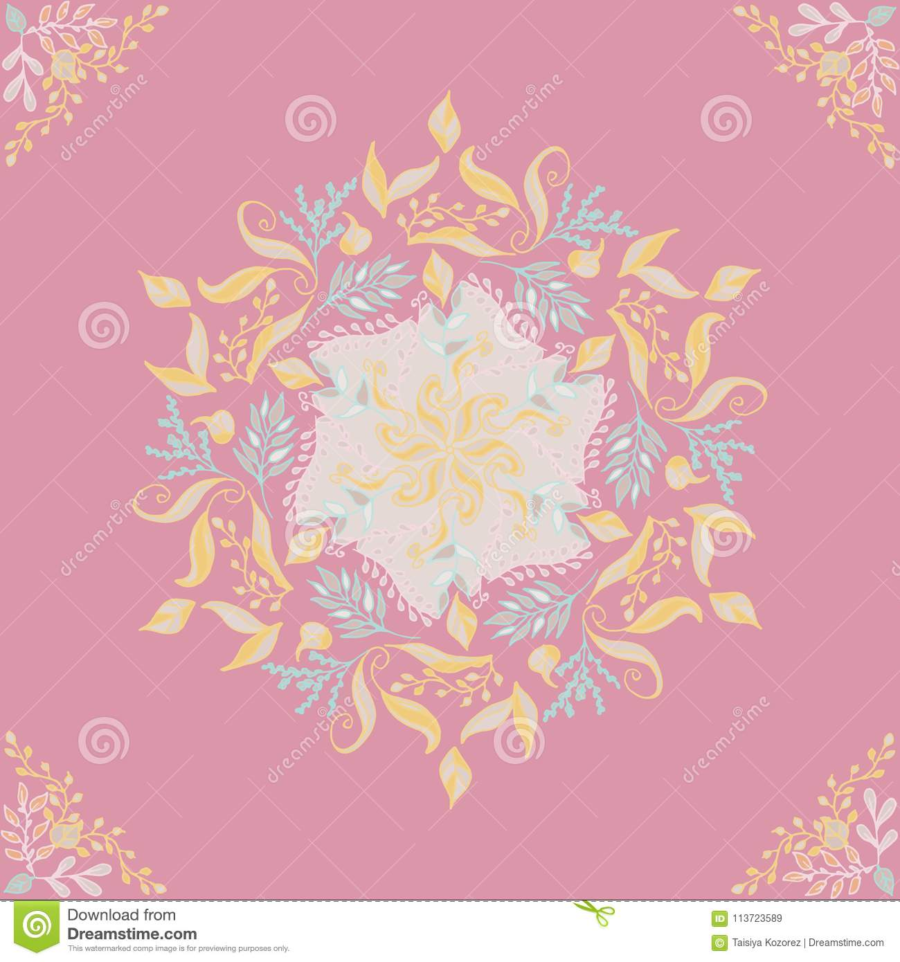 Mandala floral pattern colored on a pink background ethno motive, illustration, eps 10.
