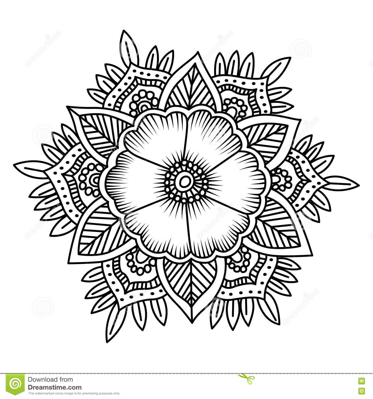Mandala Flower Doodle Vector Illustration Coloring Pages