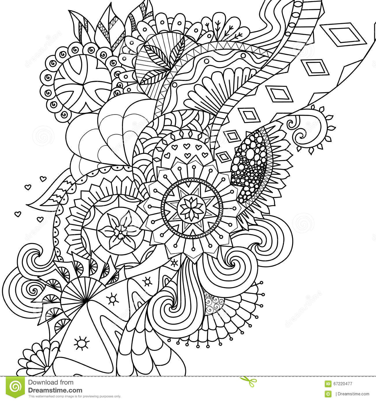Mandala Flowers For Coloring Book For Adults Or Background Stock