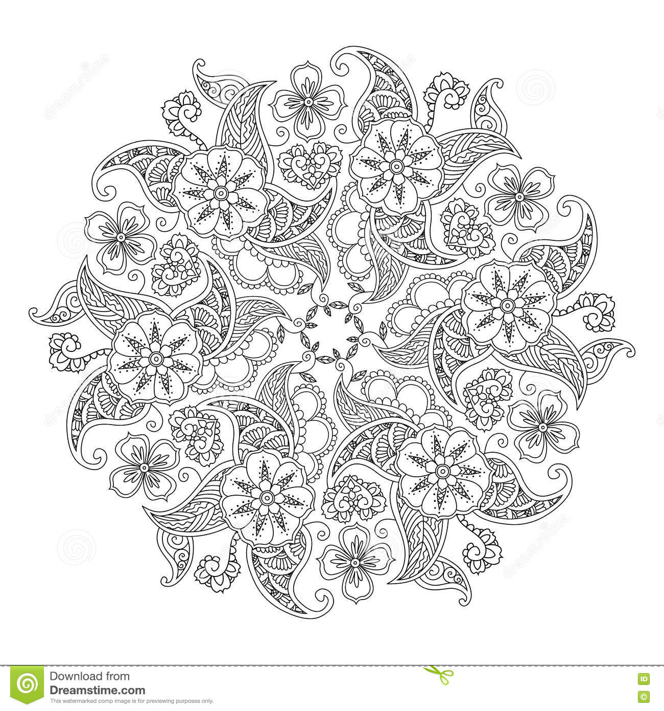 Mandala With Flowers And Leaves Isolated On White