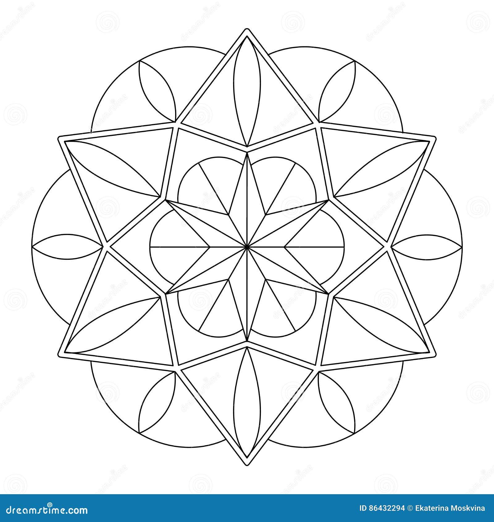 Mandala Geométrica Para Colorear Ilustración del Vector ...