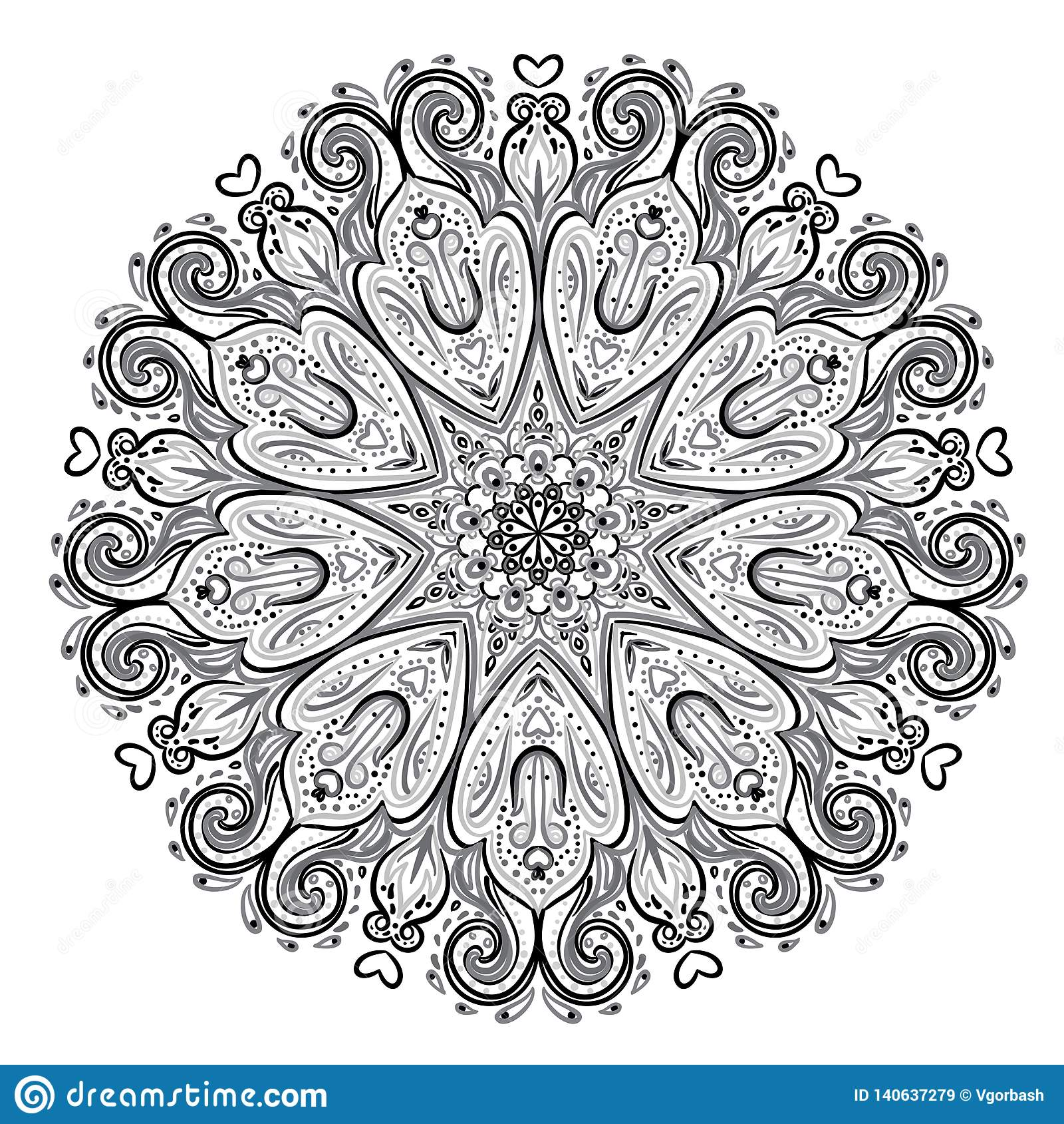 Mandala Härlig tappningrundamodell abstrakt bakgrund tecknad hand Isolerat dekorativt retro baner Inbjudan t-skjorta