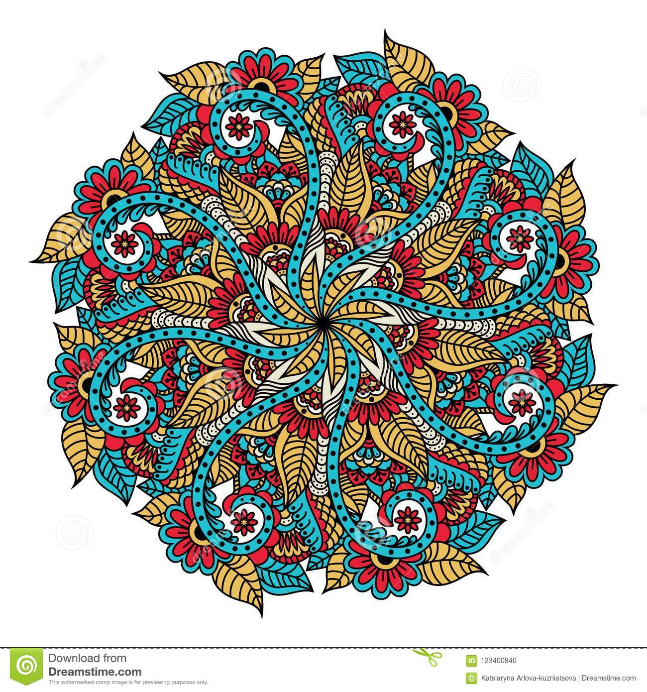 Mandala. Hand Drawn Backdrop. Vector For Coloring Page For Adults ...