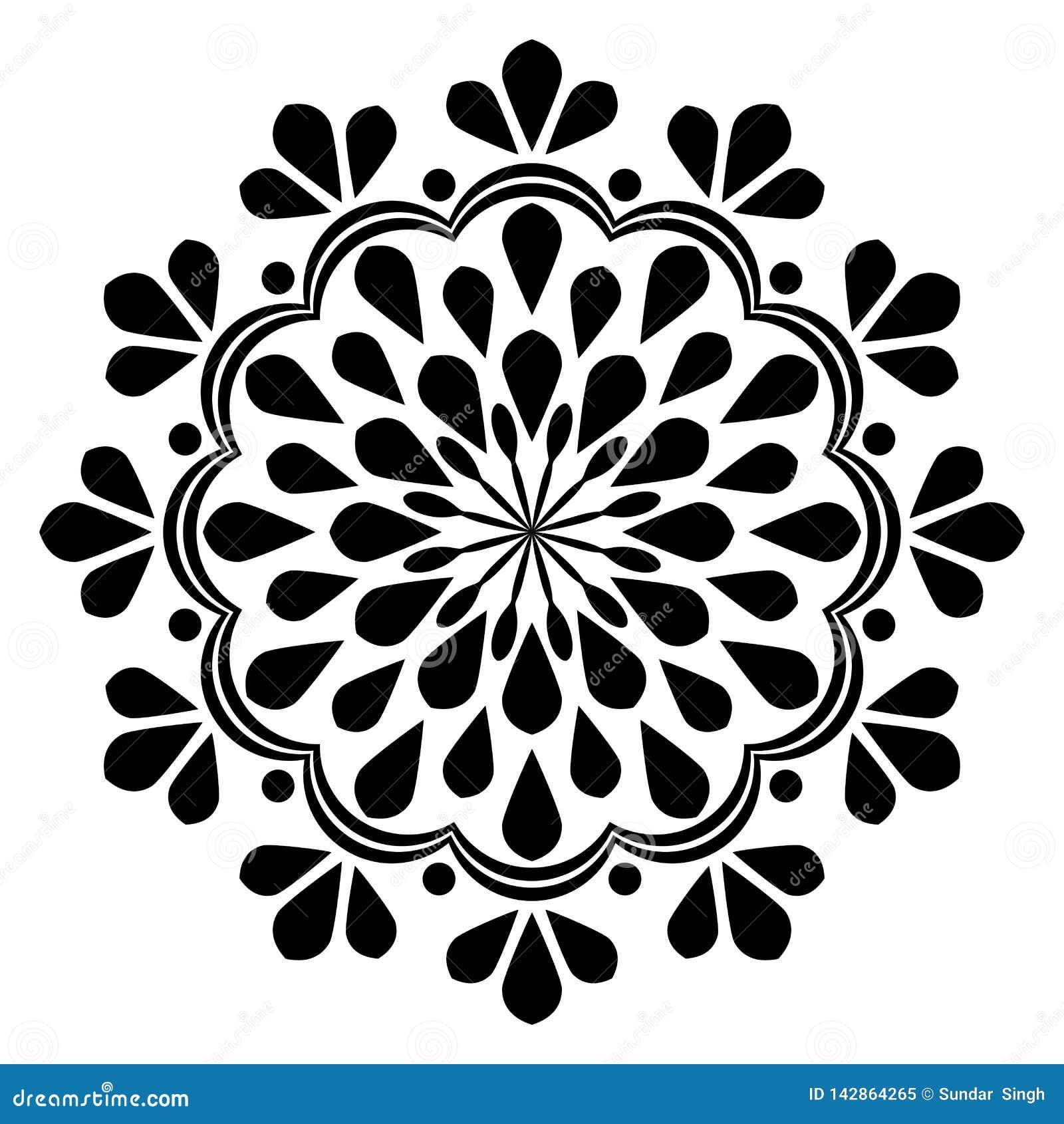 Mandala hermosa de la decoración del vintage blanco y negro abstracto