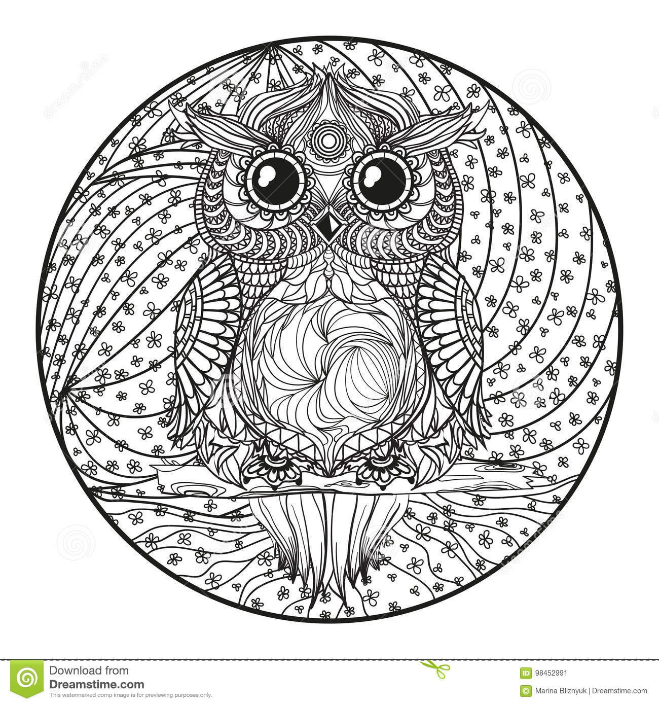 Mandala Hibou Zentangle Illustration De Vecteur