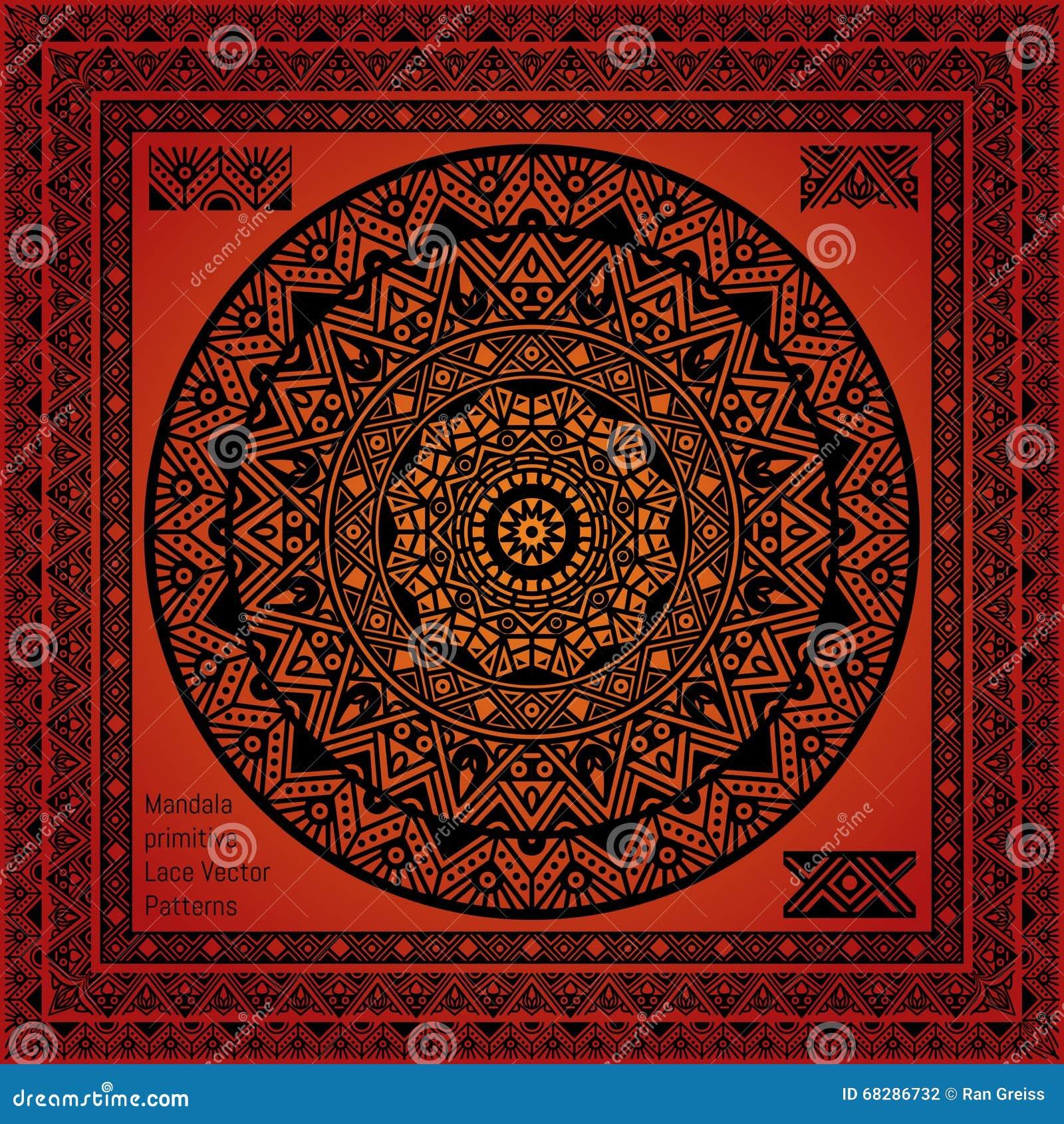 Mandala Hindu Symbol And Lace Pattern Frame Stock Vector
