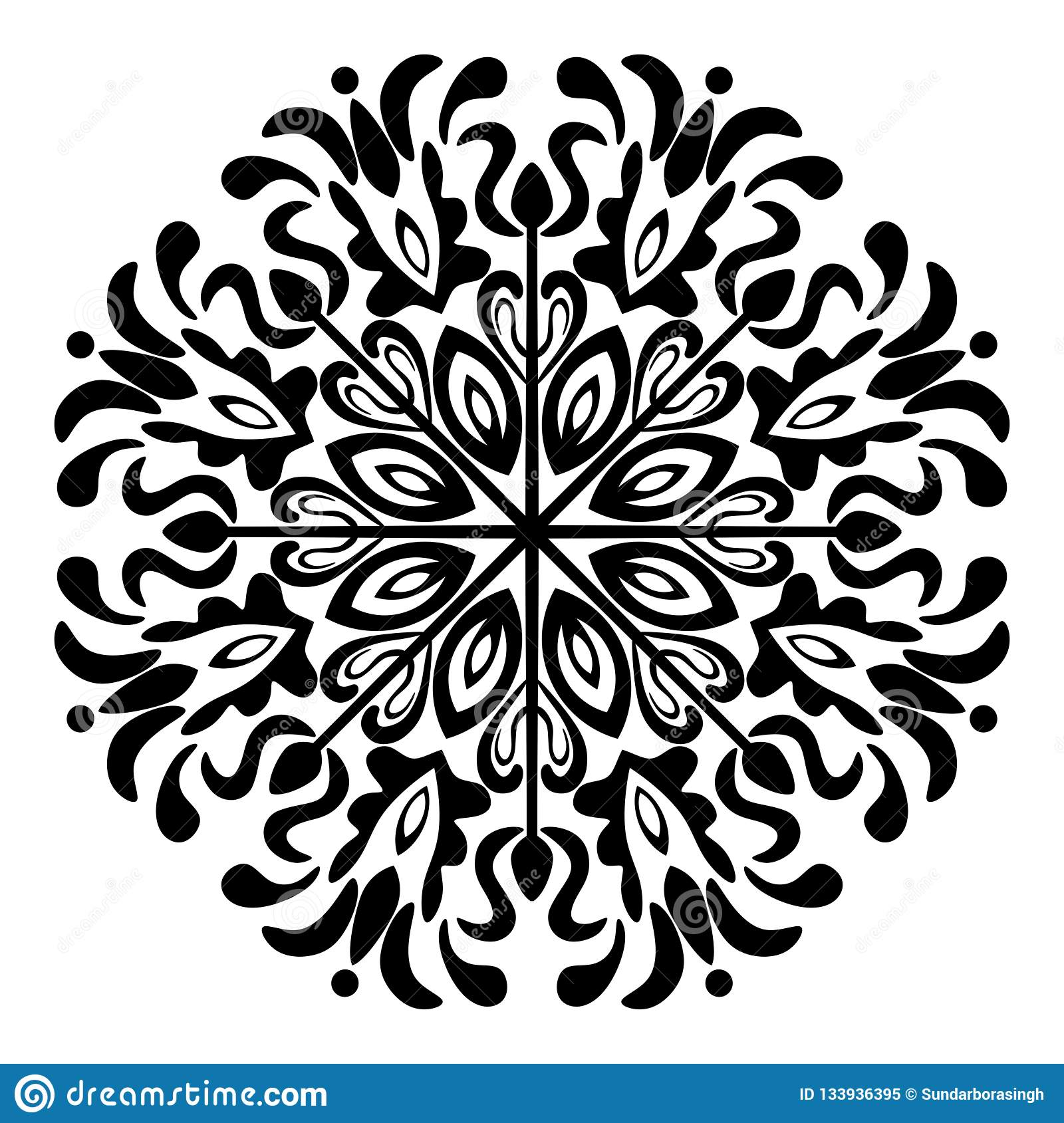 Mandala Illustration Vector blanco y negro