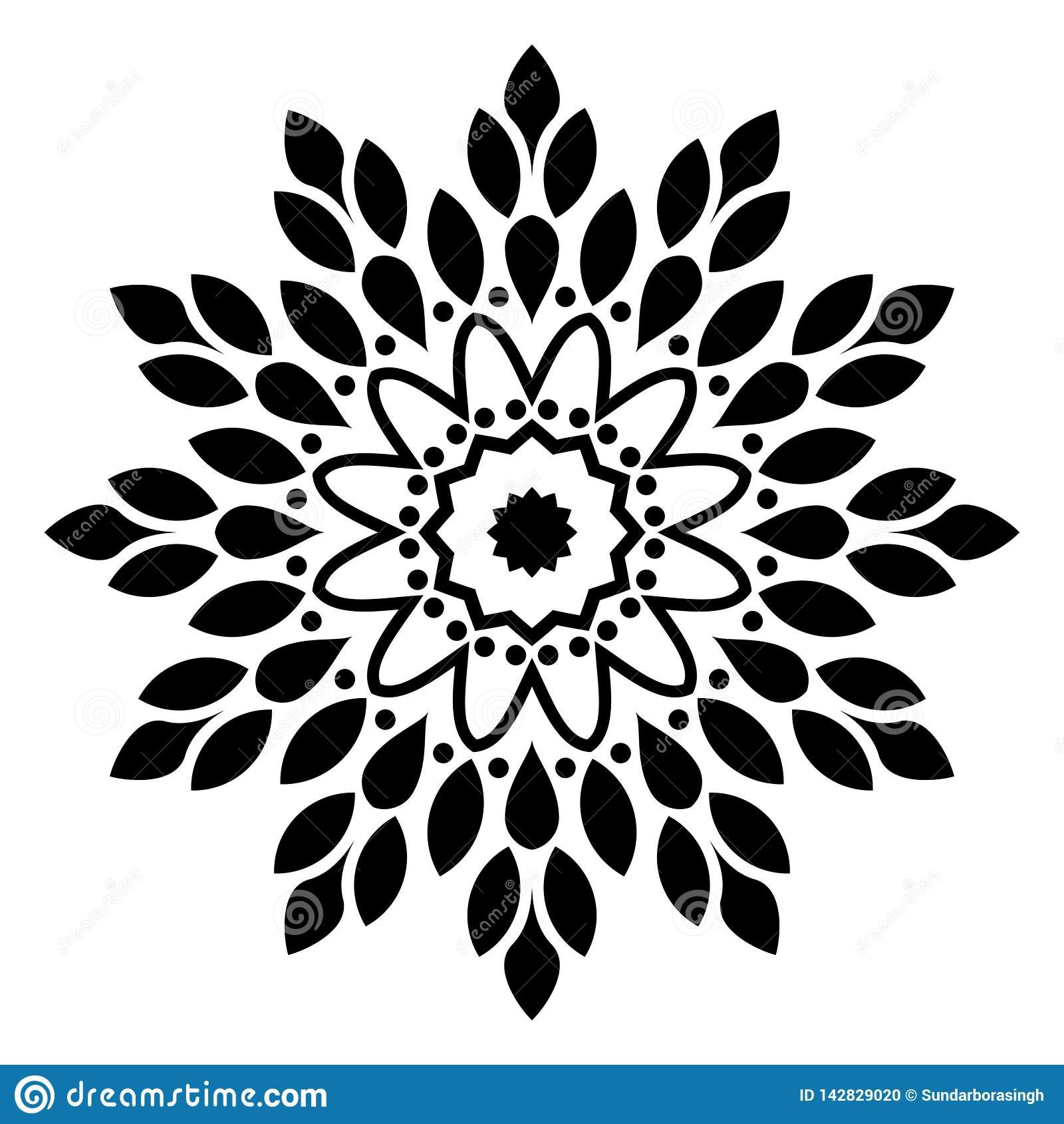 Mandala Ilustracyjny zawijas w białym tle,