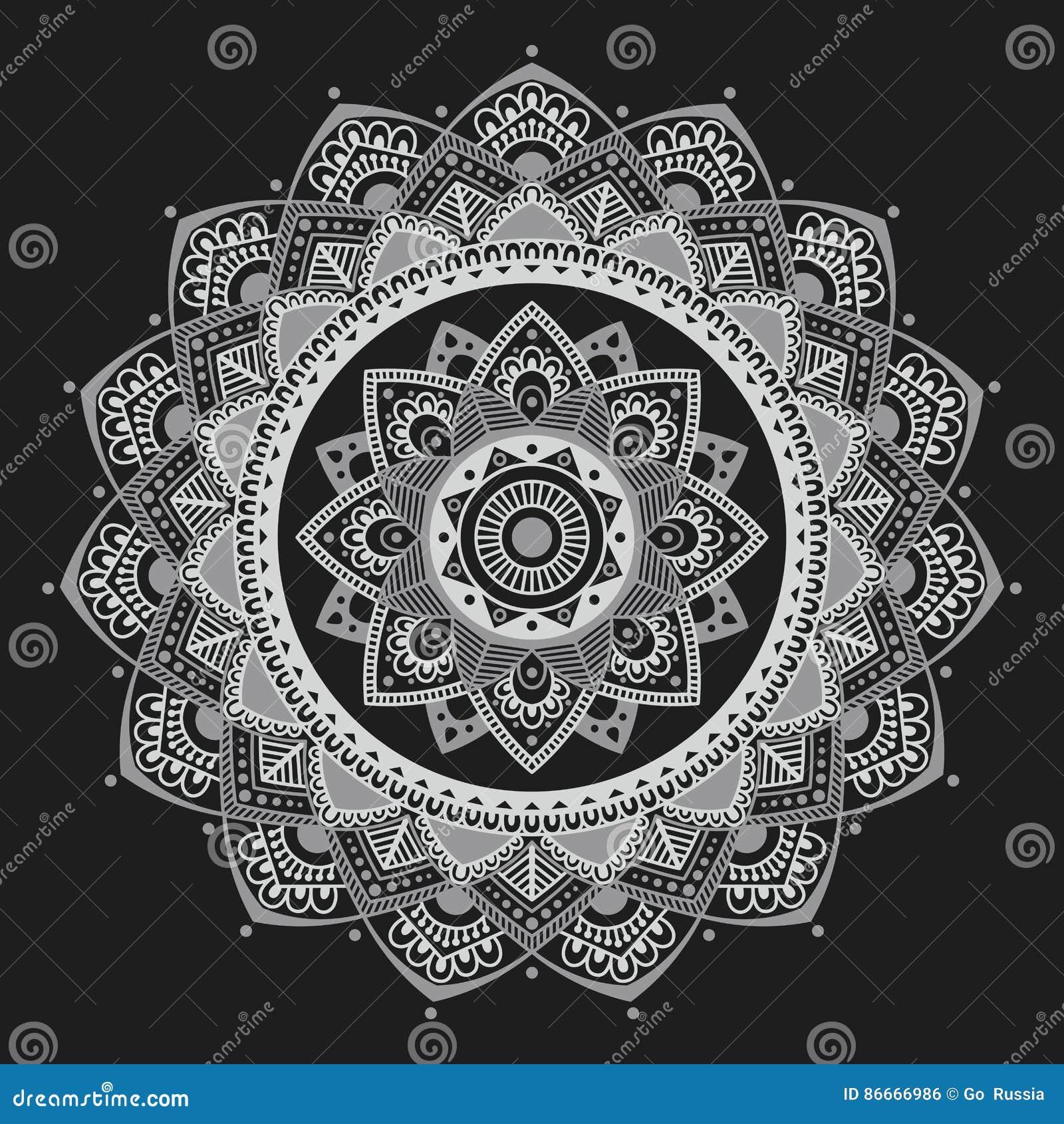 Mandala Indian Antistress Medallion Abstract Islamic Flower Arabic Henna Design Yoga Symbol Vector Illustration