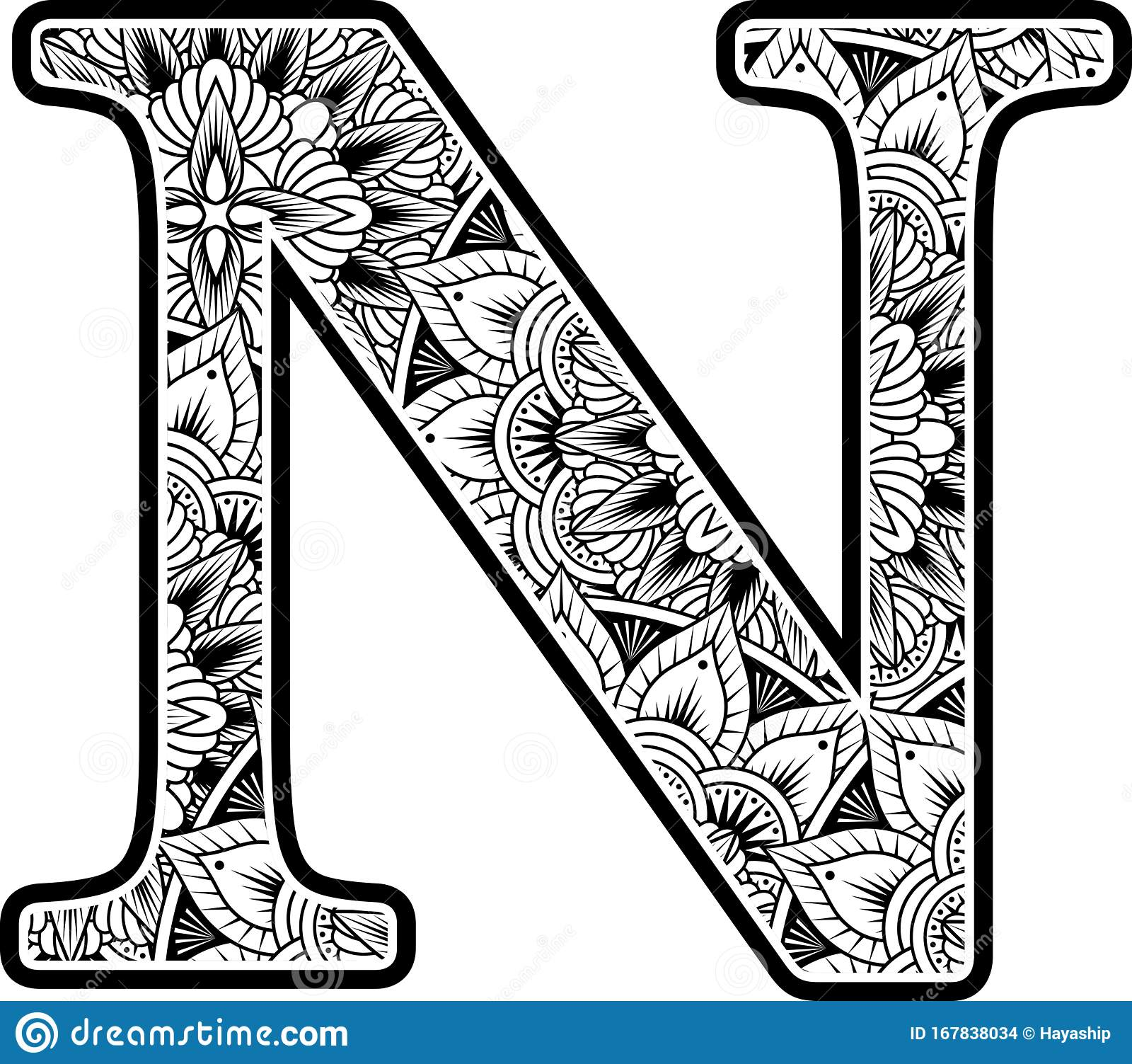 mandala inspiration abstract flowers capital letter n