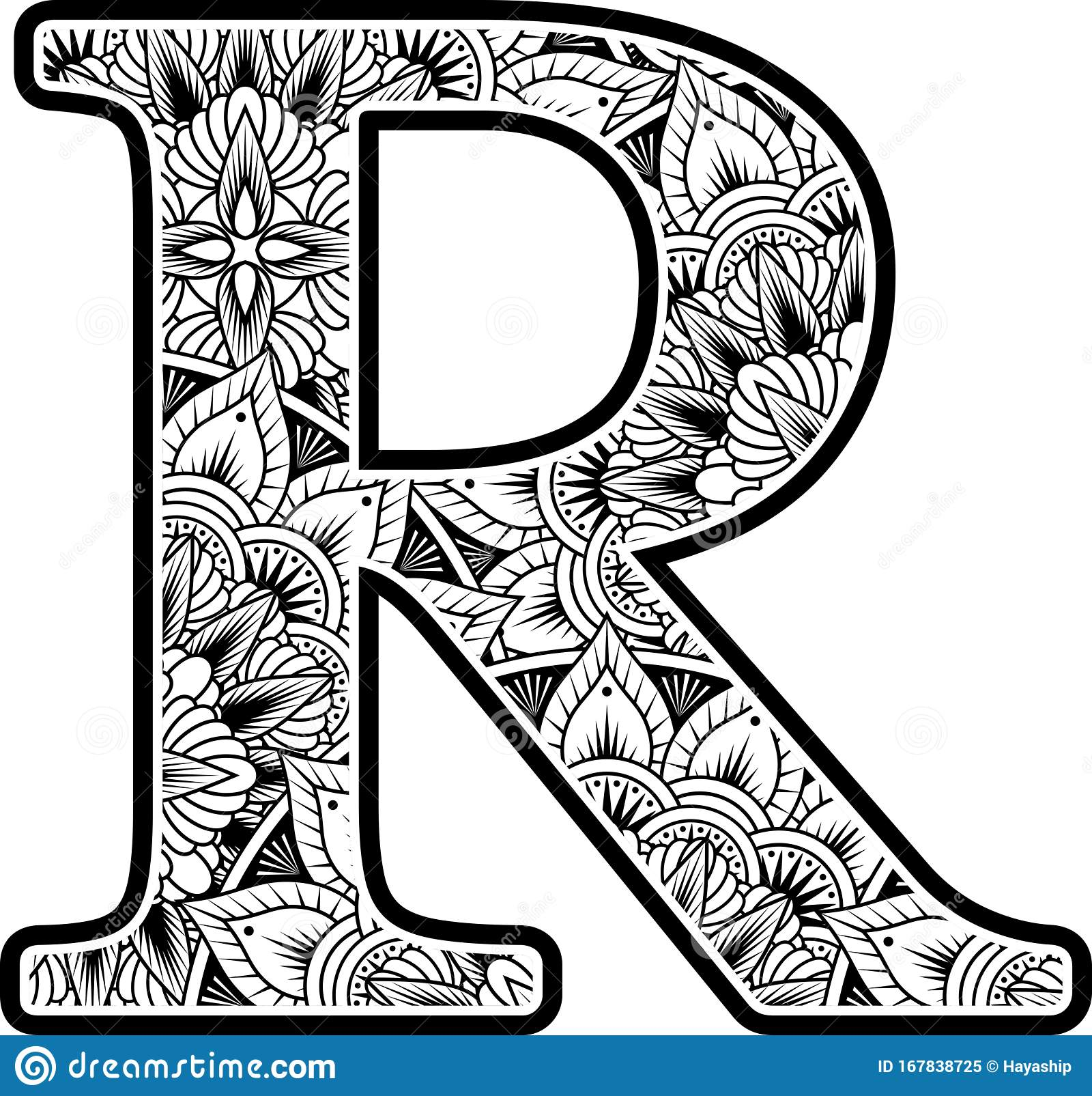 mandala inspiration abstract flowers capital letter r