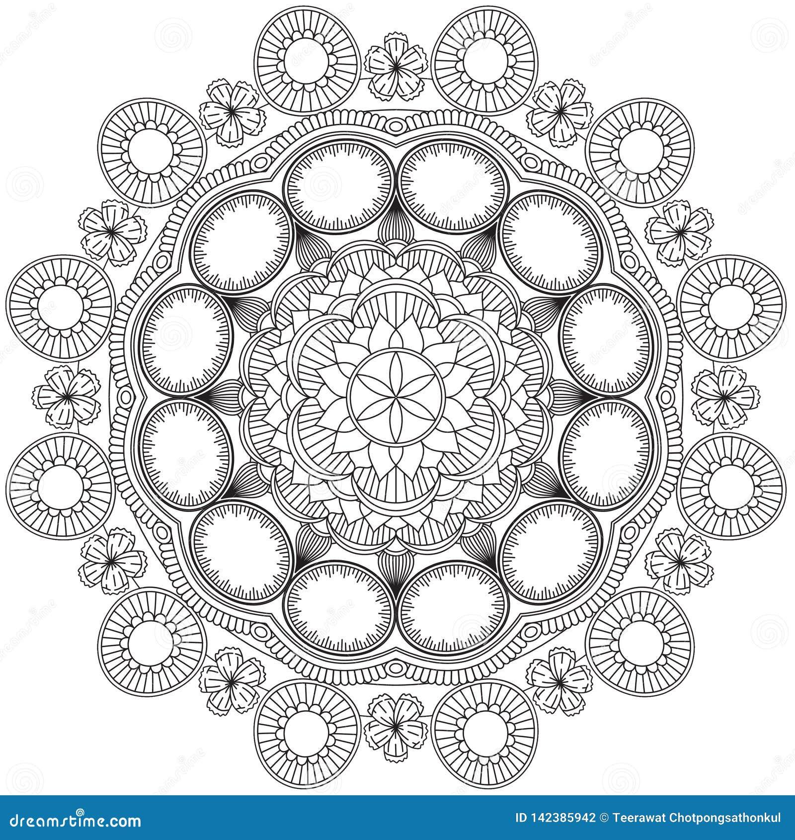 Mandala Intricate Patterns Black et bonne humeur blanche
