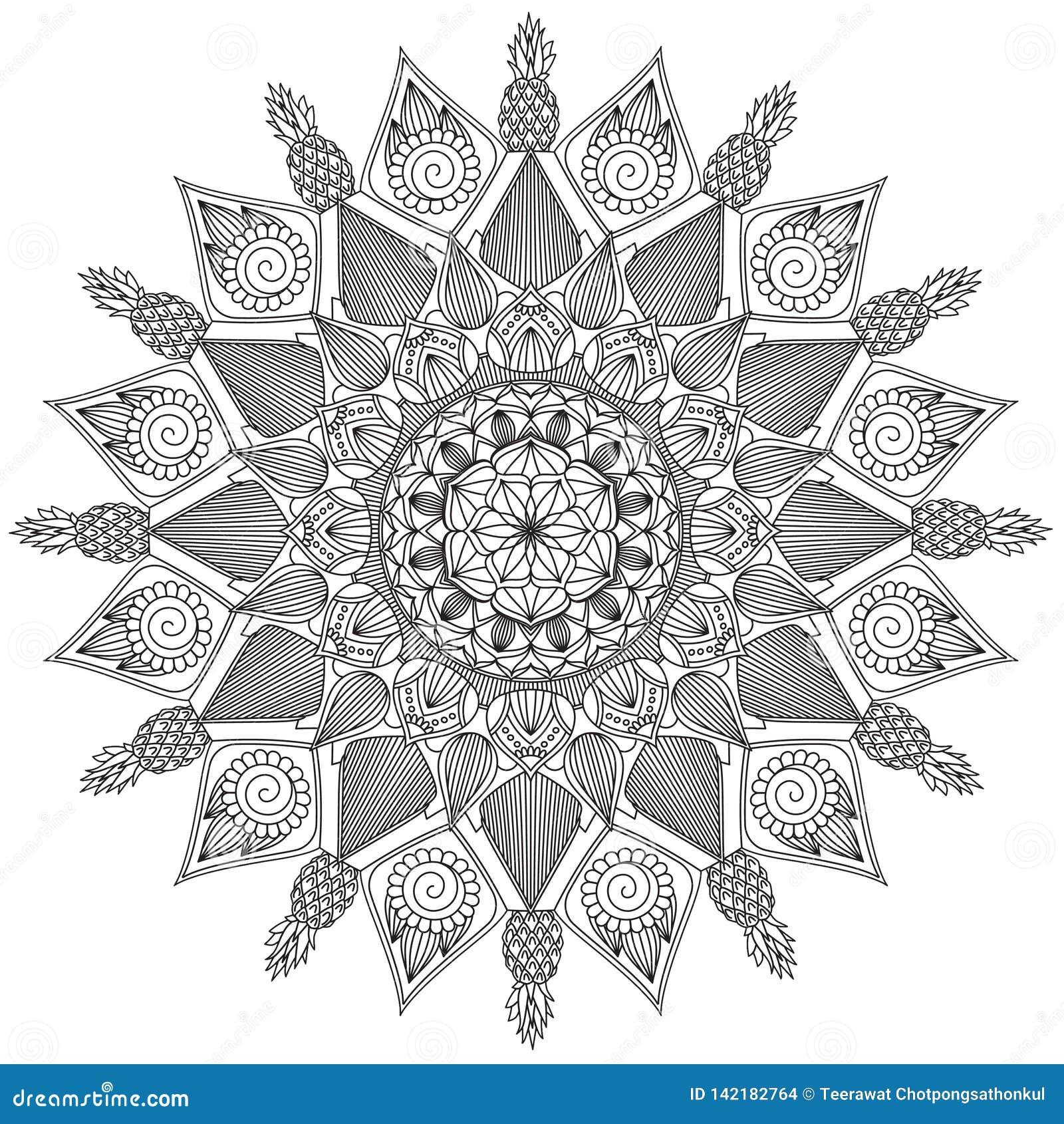 Mandala Intricate Patterns Black och vitt bra lynne