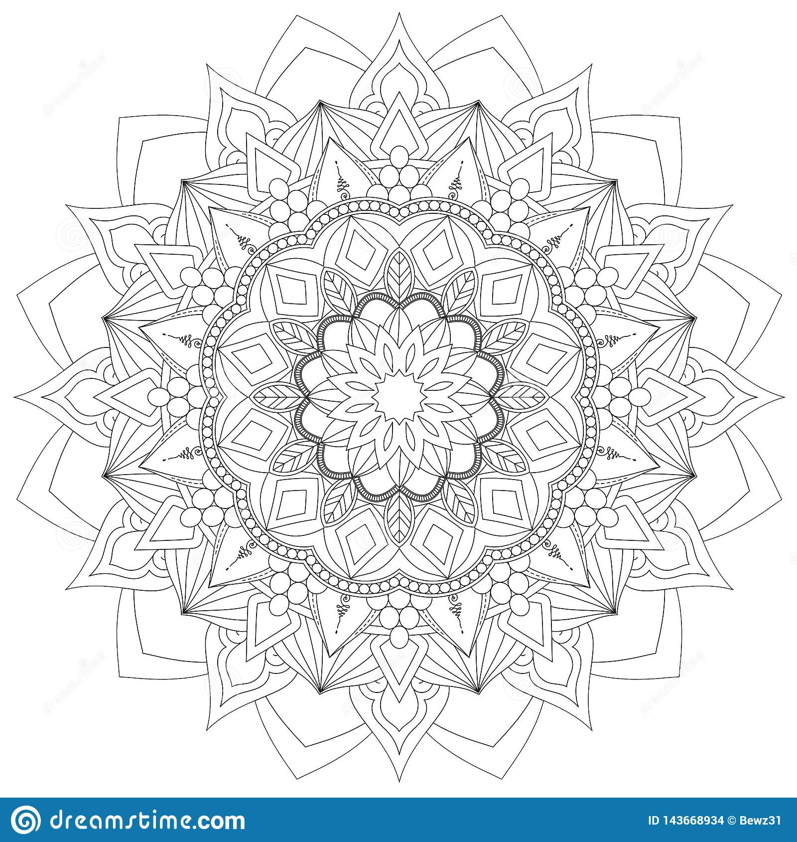 Mandala Intricate Patterns Black und weiße gute Laune