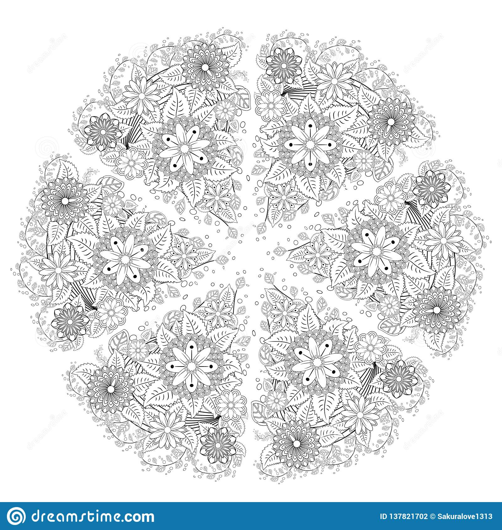 mandala isolated design element geometric line pattern stylized floral round ornament zen doodle art monochrome sketch coloring