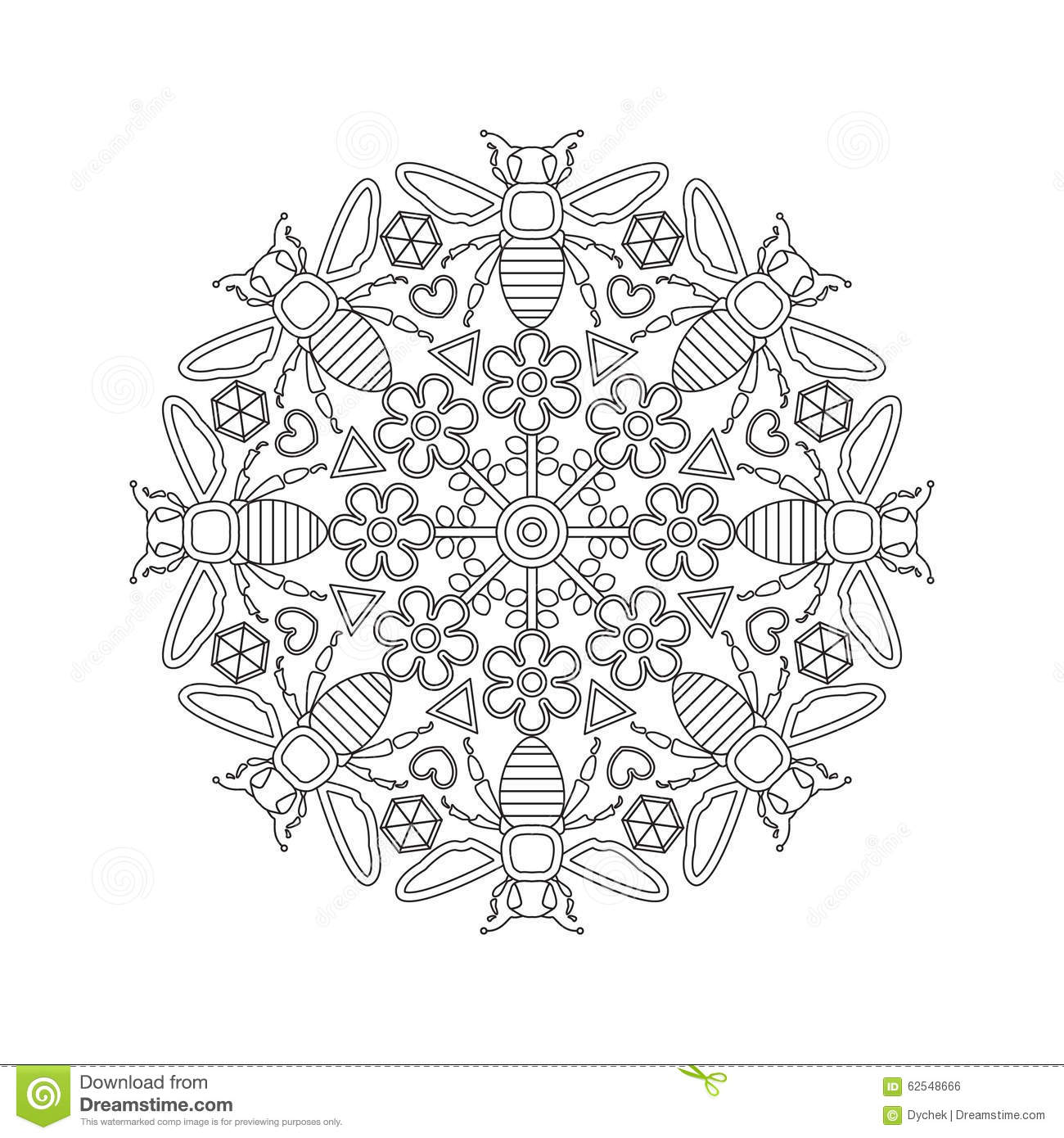 mandala for kids with bees  stock vector