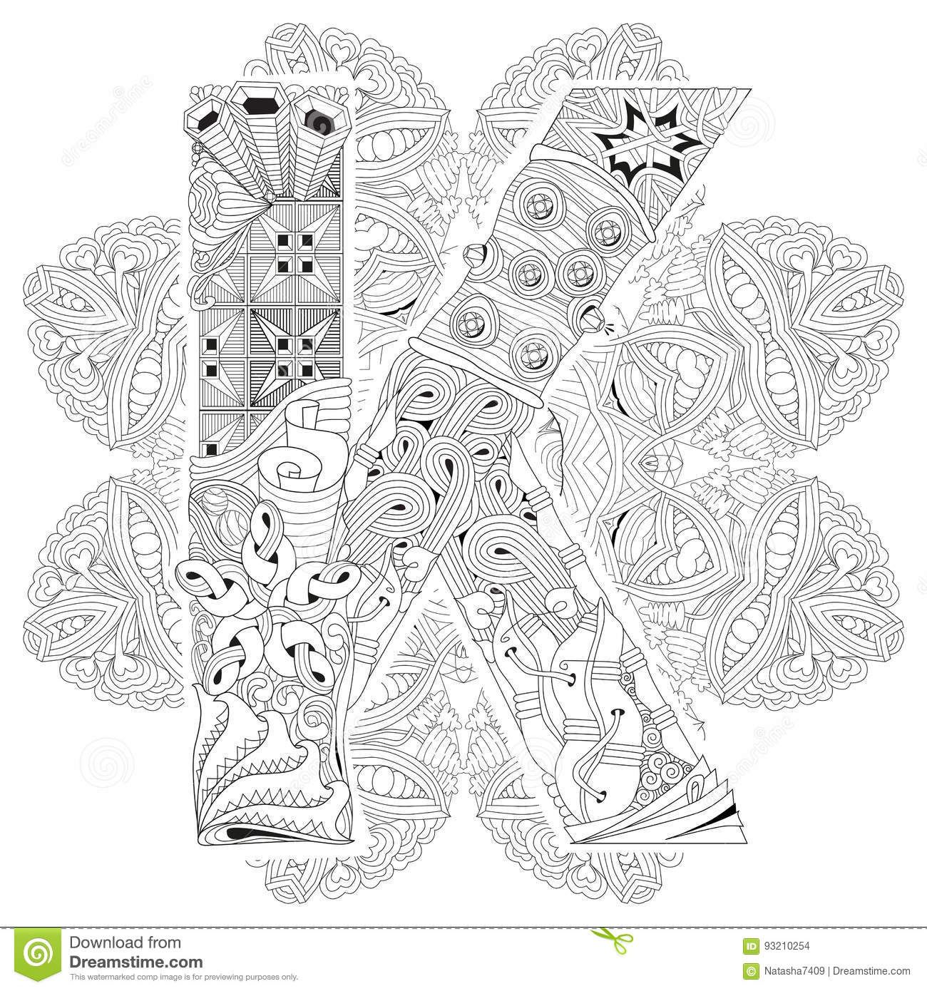 Mandala With Letter K For Coloring. Vector Decorative Zentangle ...