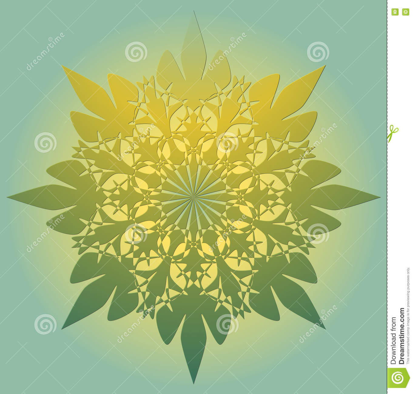 Mandala In Light Green Color With Yellow Light - A Symbol Of ...