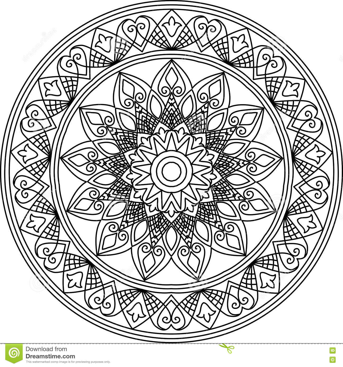 Line Drawing Mandala : Mandala line art cartoon vector cartoondealer