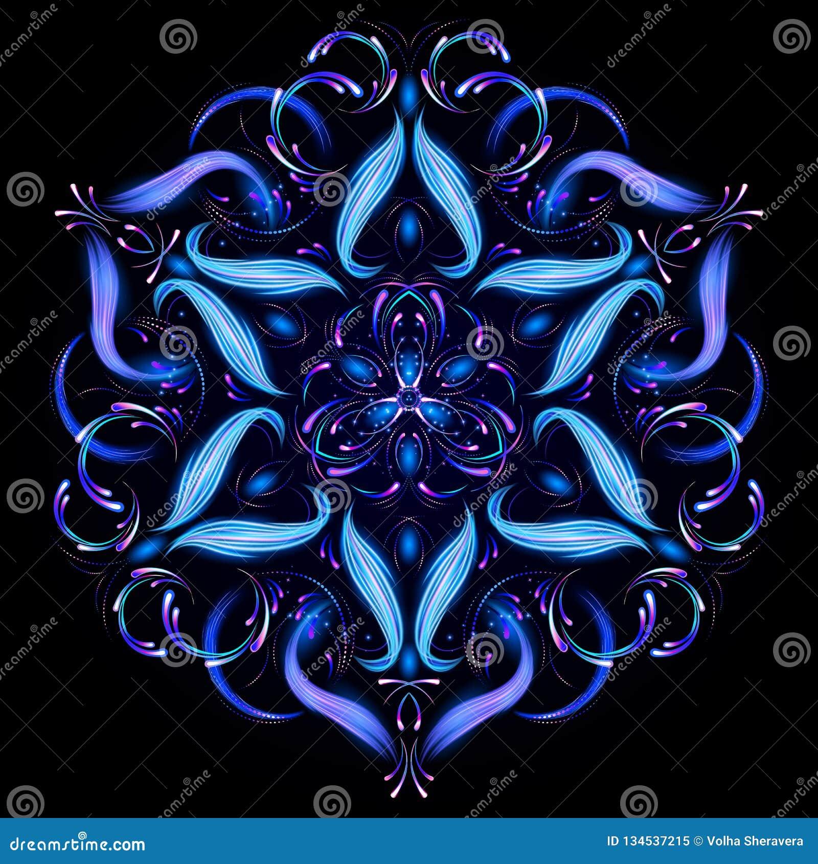 Mandala mágica bonita Fractal abstrato com uma mandala feita de linhas luminosas Teste padrão misterioso do abrandamento Molde da