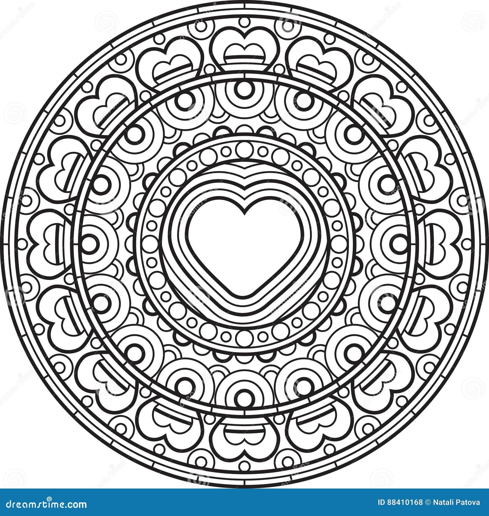 mandala met hart decoratief rond ornament vector