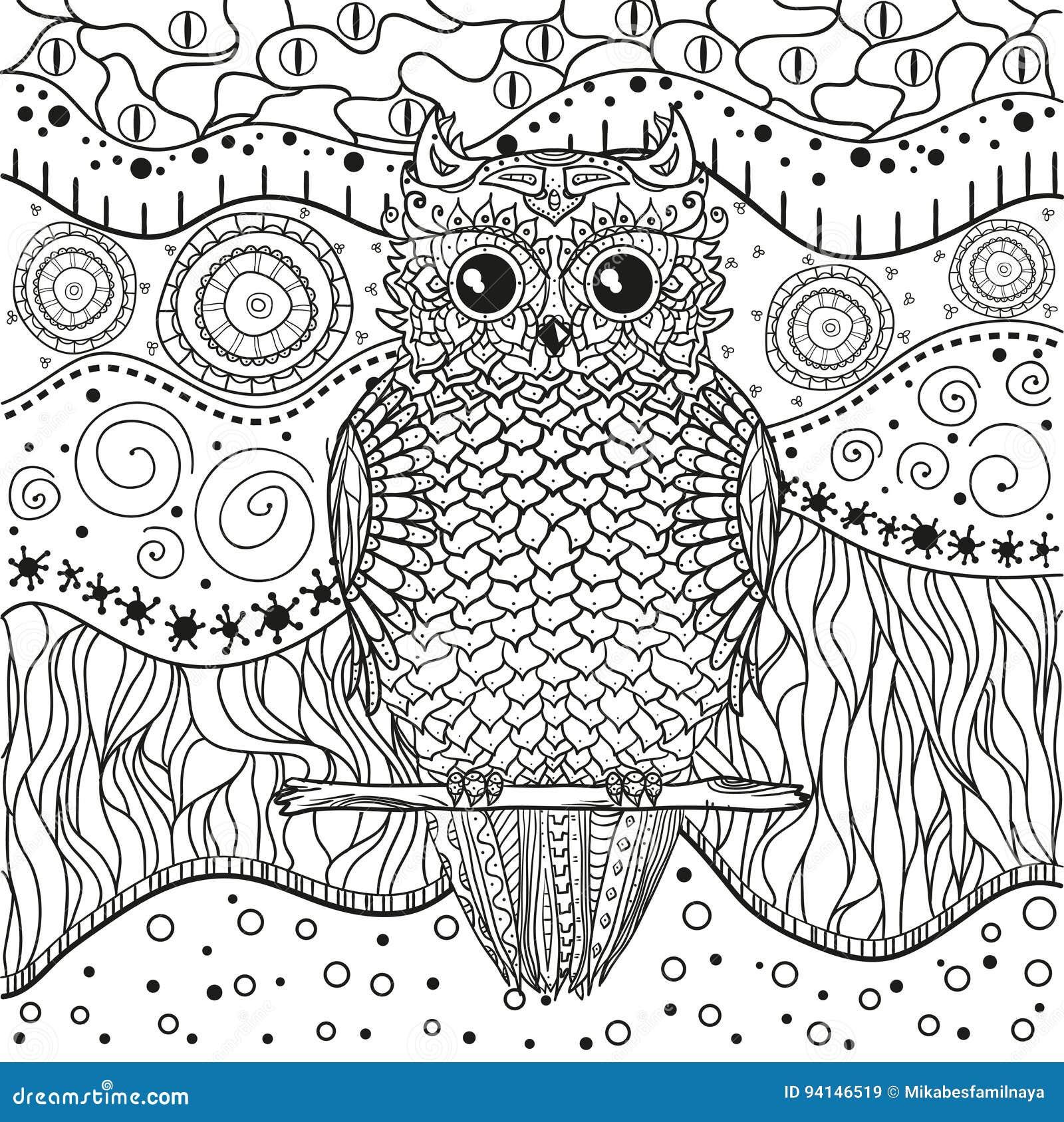 mandala met uil vector illustratie illustratie bestaande
