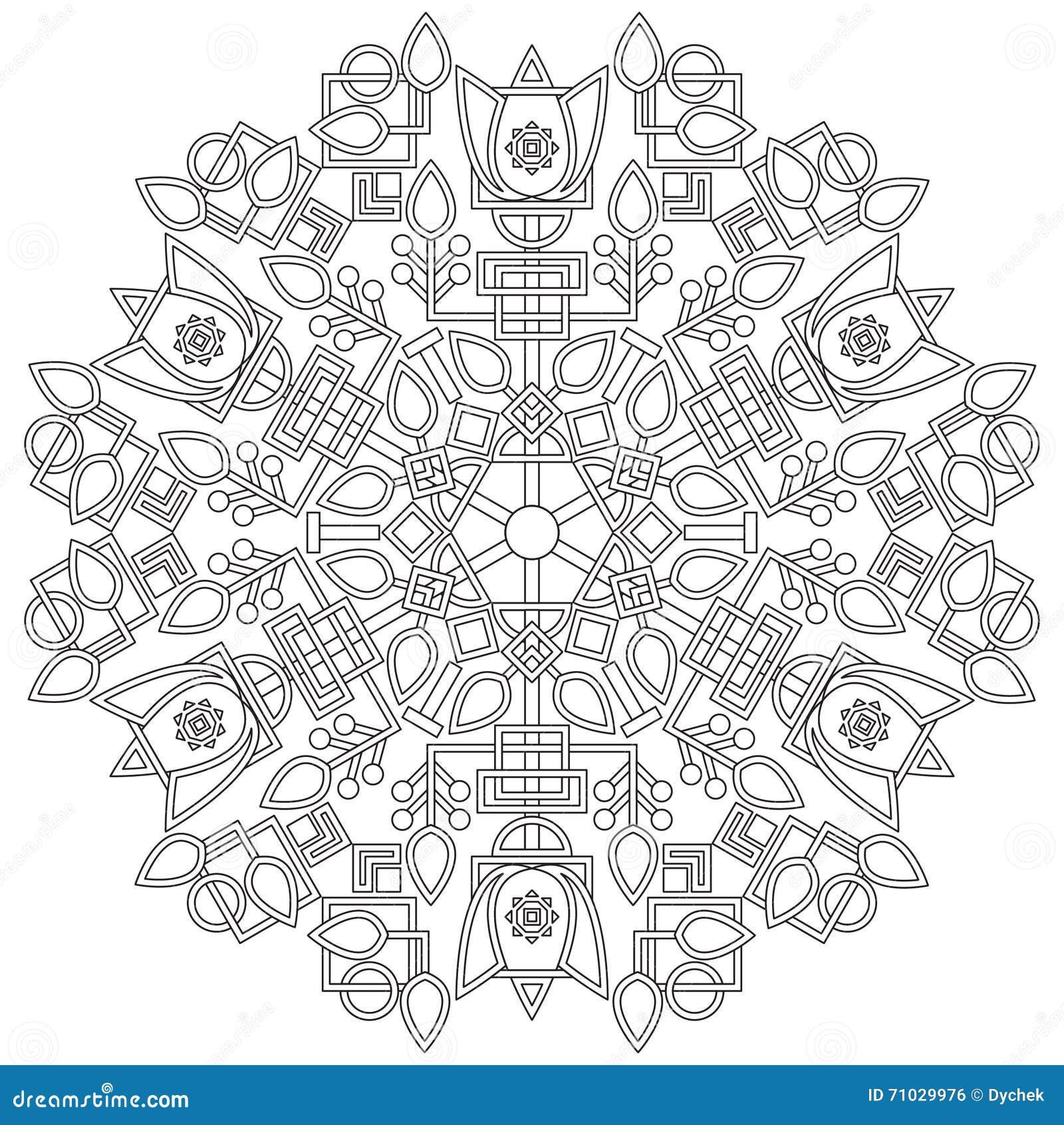 Mandala Mit Einer Blume Und Geometrische Formen Für Ihr Design Und ...