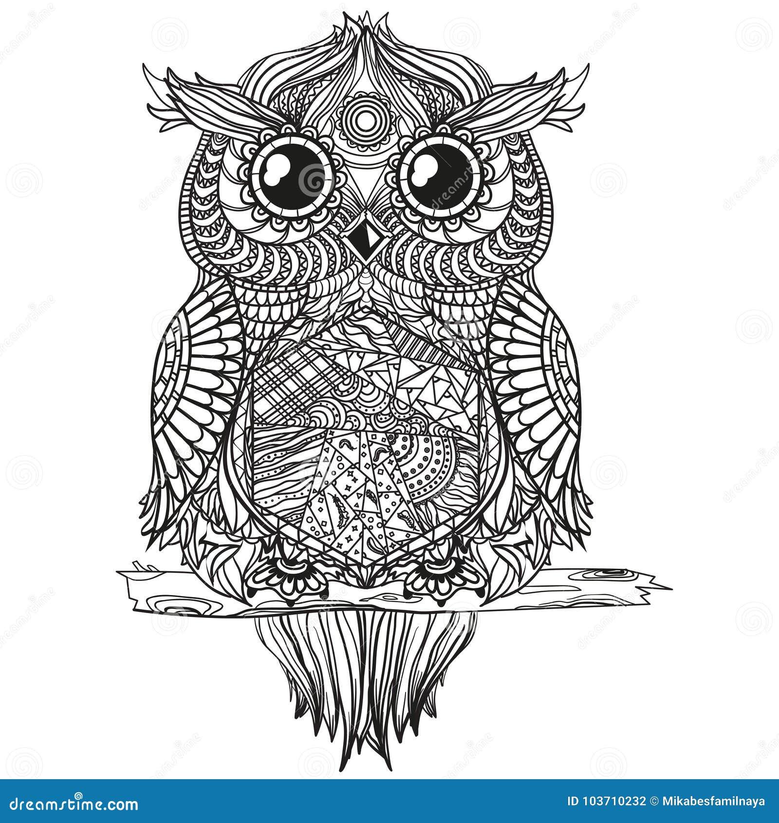 mandala mit eule vektor abbildung. illustration von eule