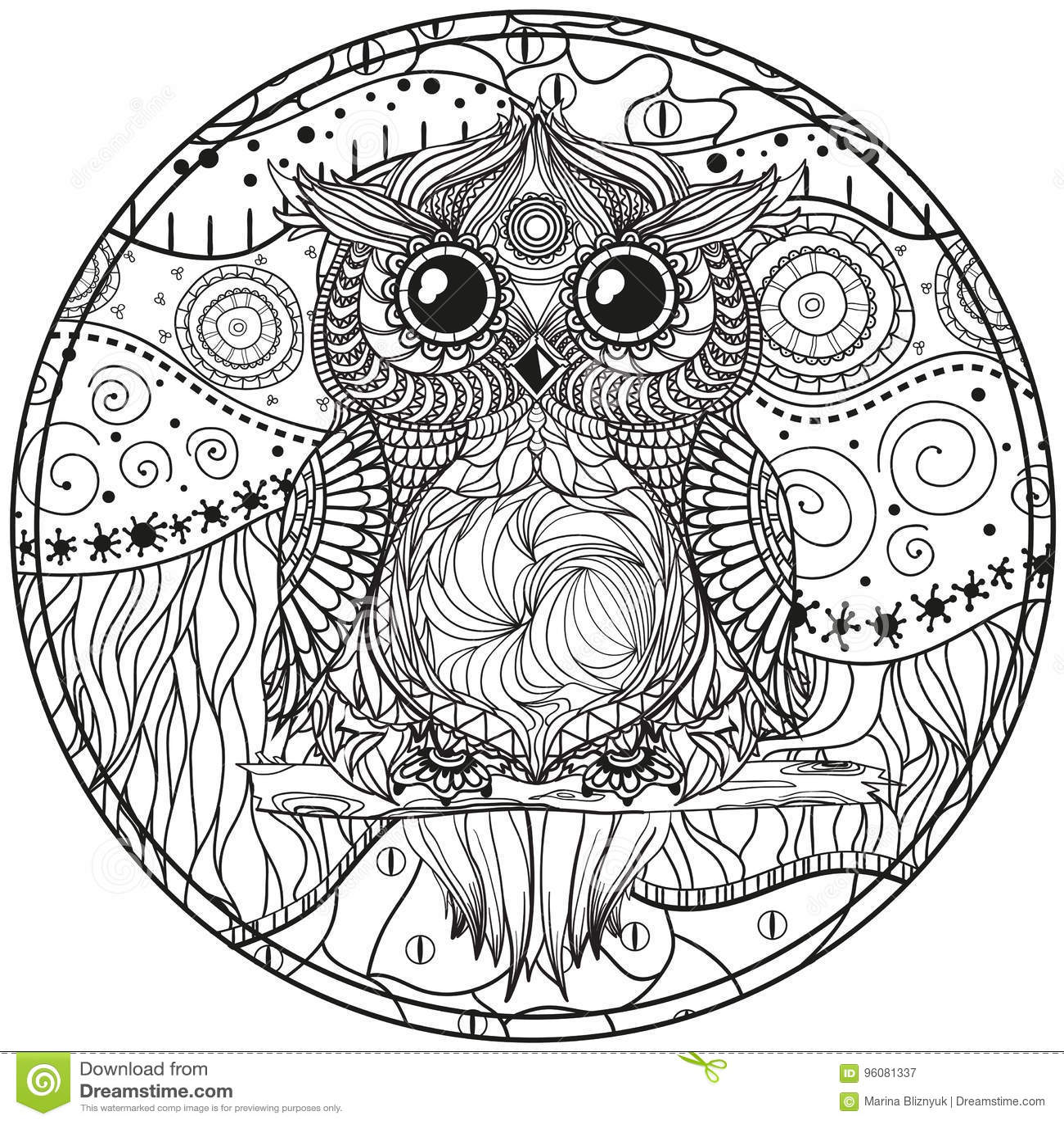 mandala mit eule vektor abbildung illustration von